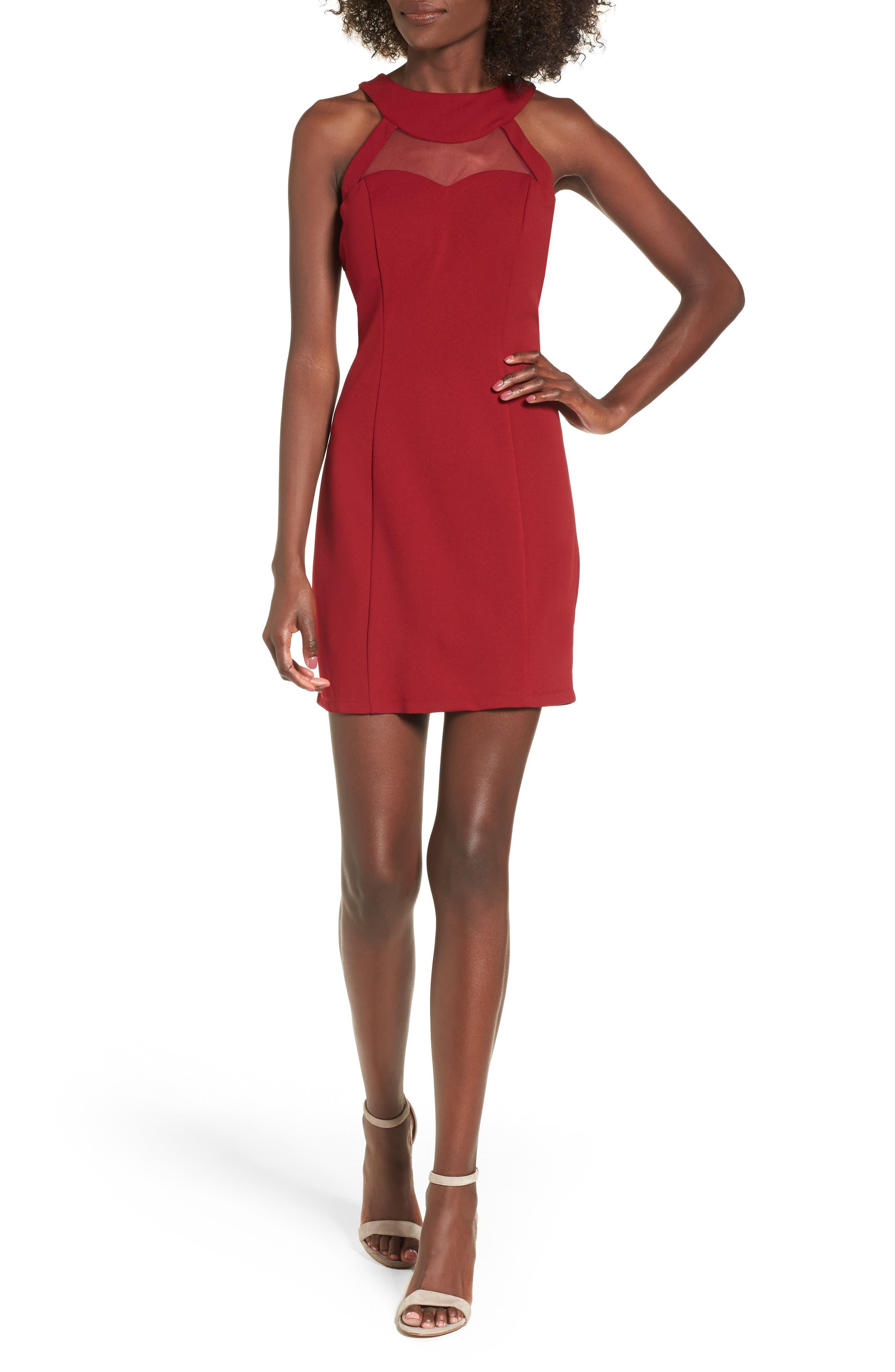 Strappy Illusion Yoke Sheath Dress,                         Main,                         color, Garnet