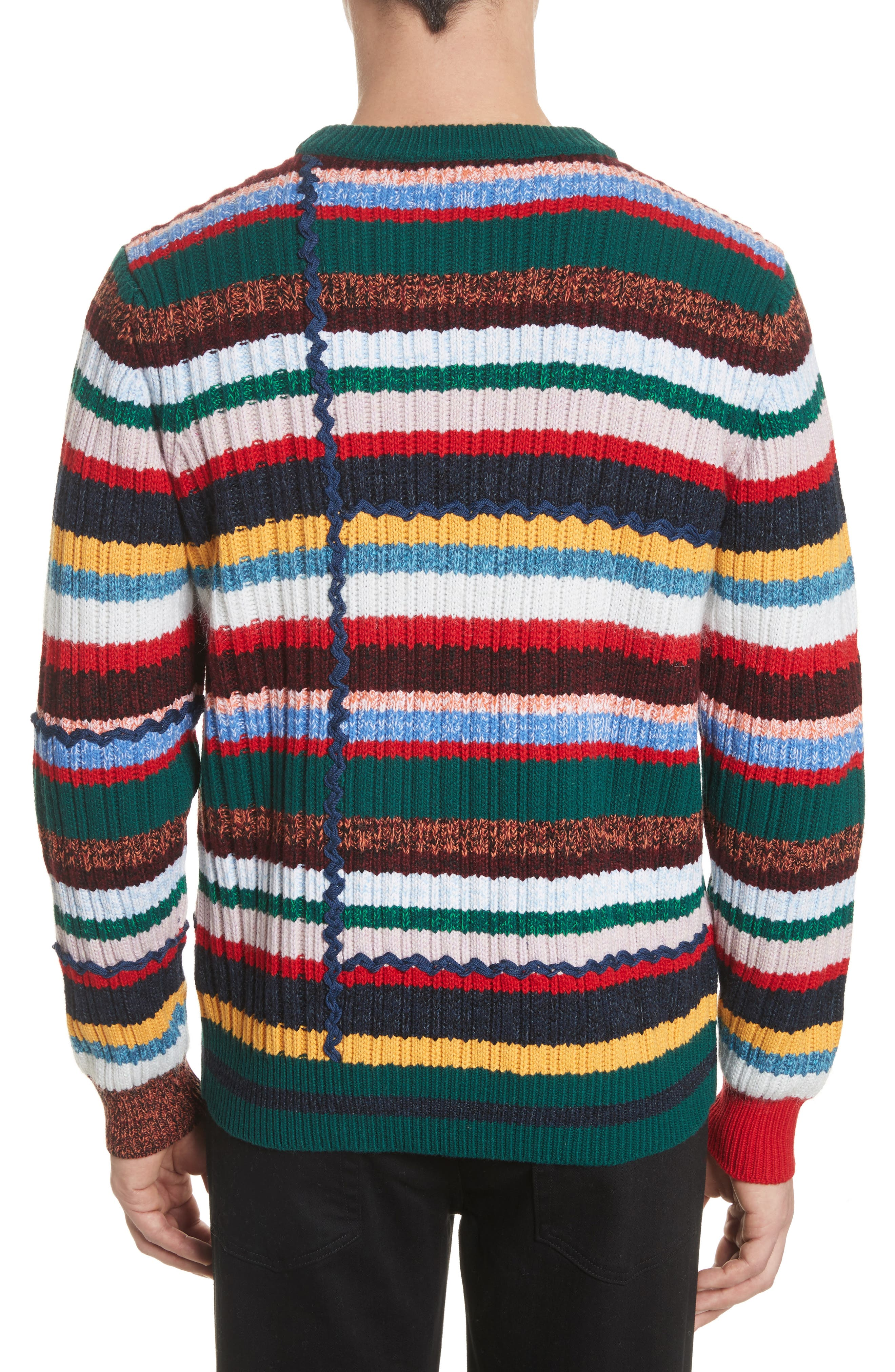 Alternate Image 2  - Burberry Chunky Multicolor Stripe Wool Blend Sweater