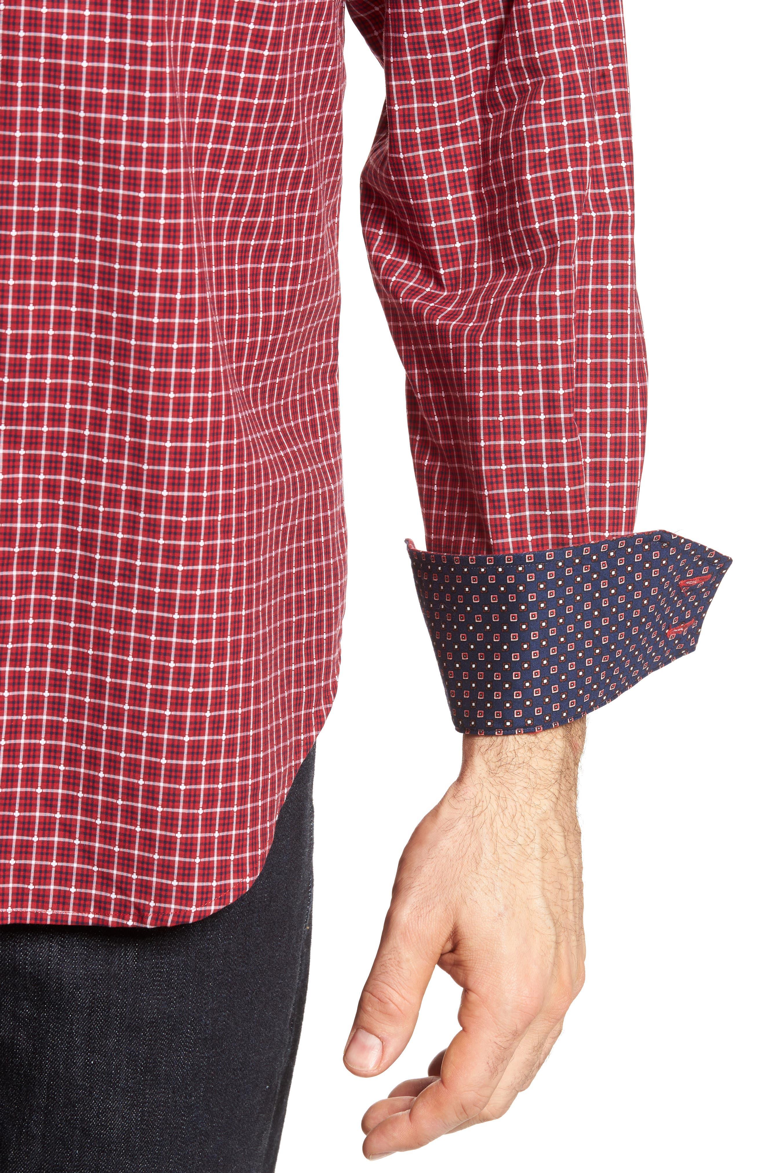 Regular Fit Plaid Sport Shirt,                             Alternate thumbnail 4, color,                             Red