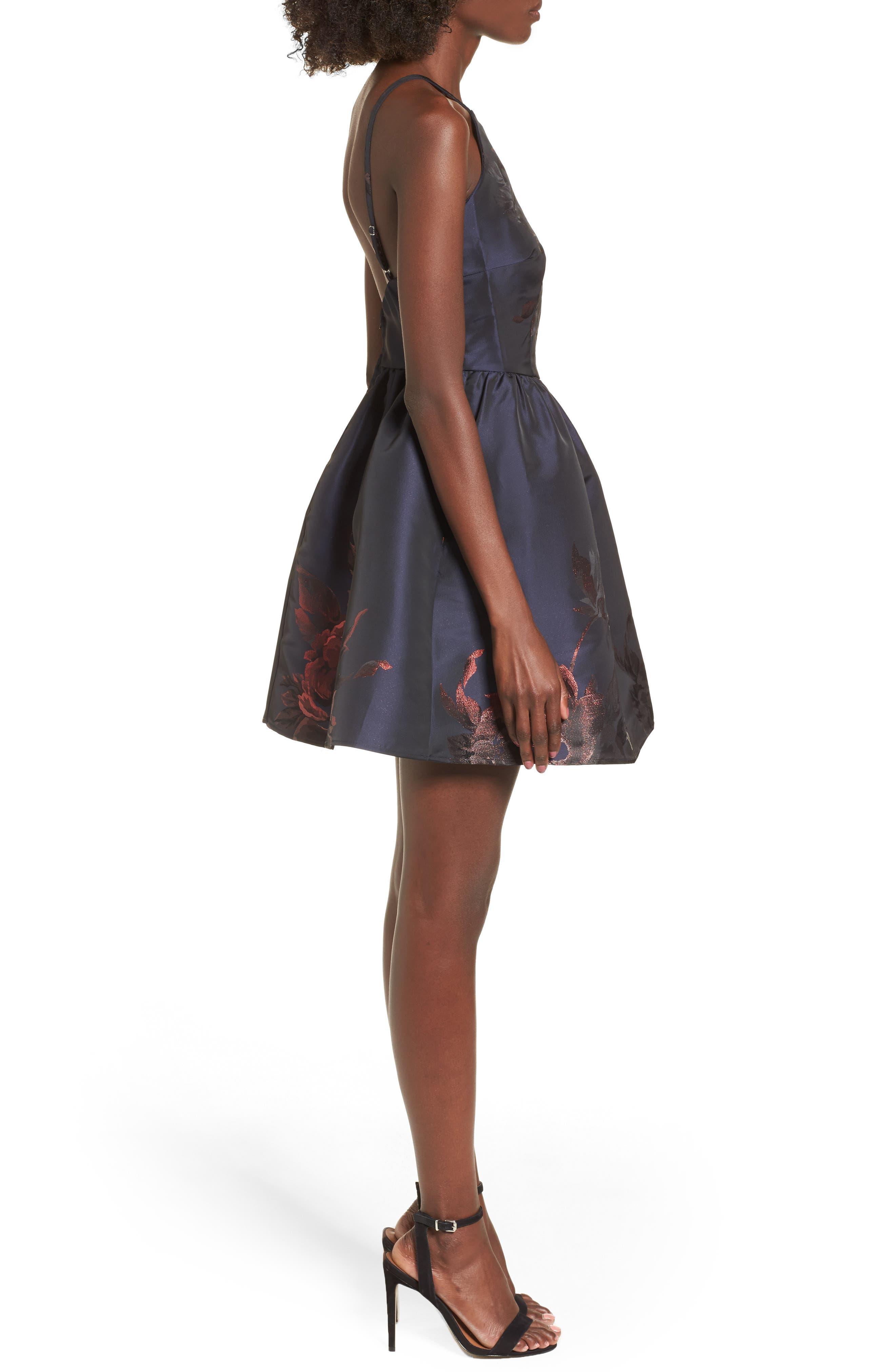 Metallic Floral Fit & Flare Dress,                             Alternate thumbnail 3, color,                             Navy/ Burgundy