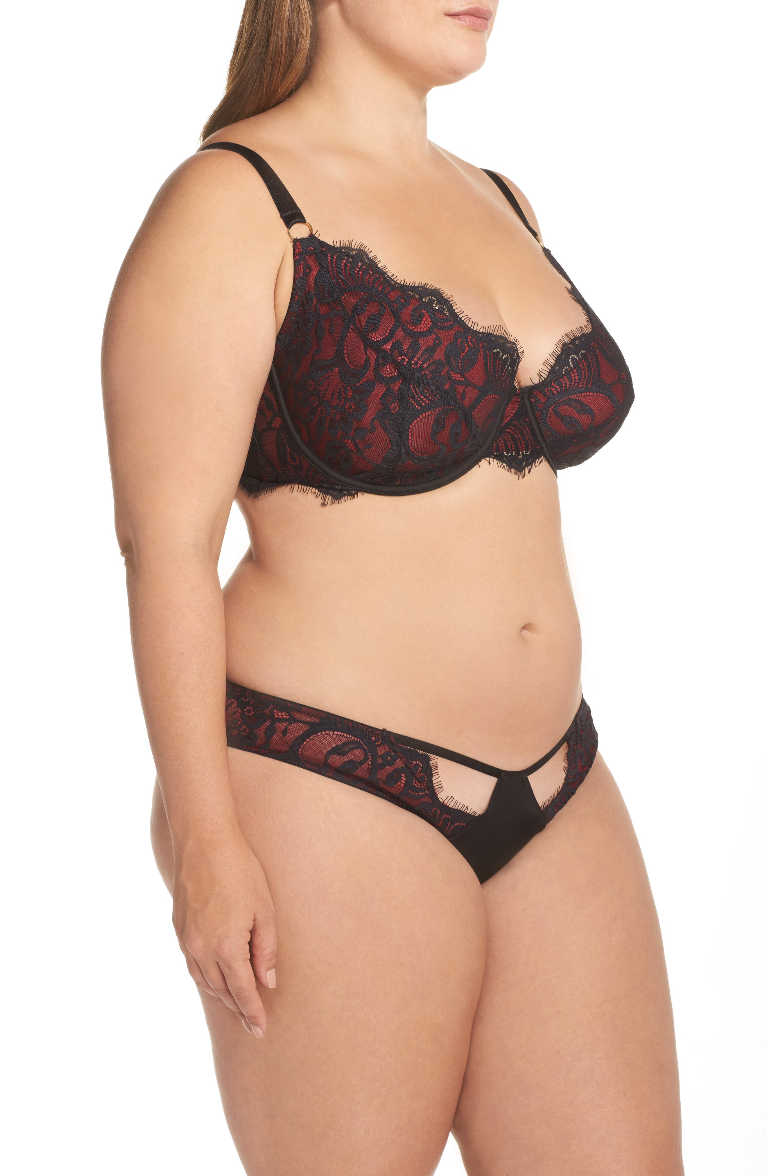 Bailey Curve Embroidered Bikini,                             Alternate thumbnail 7, color,                             Red