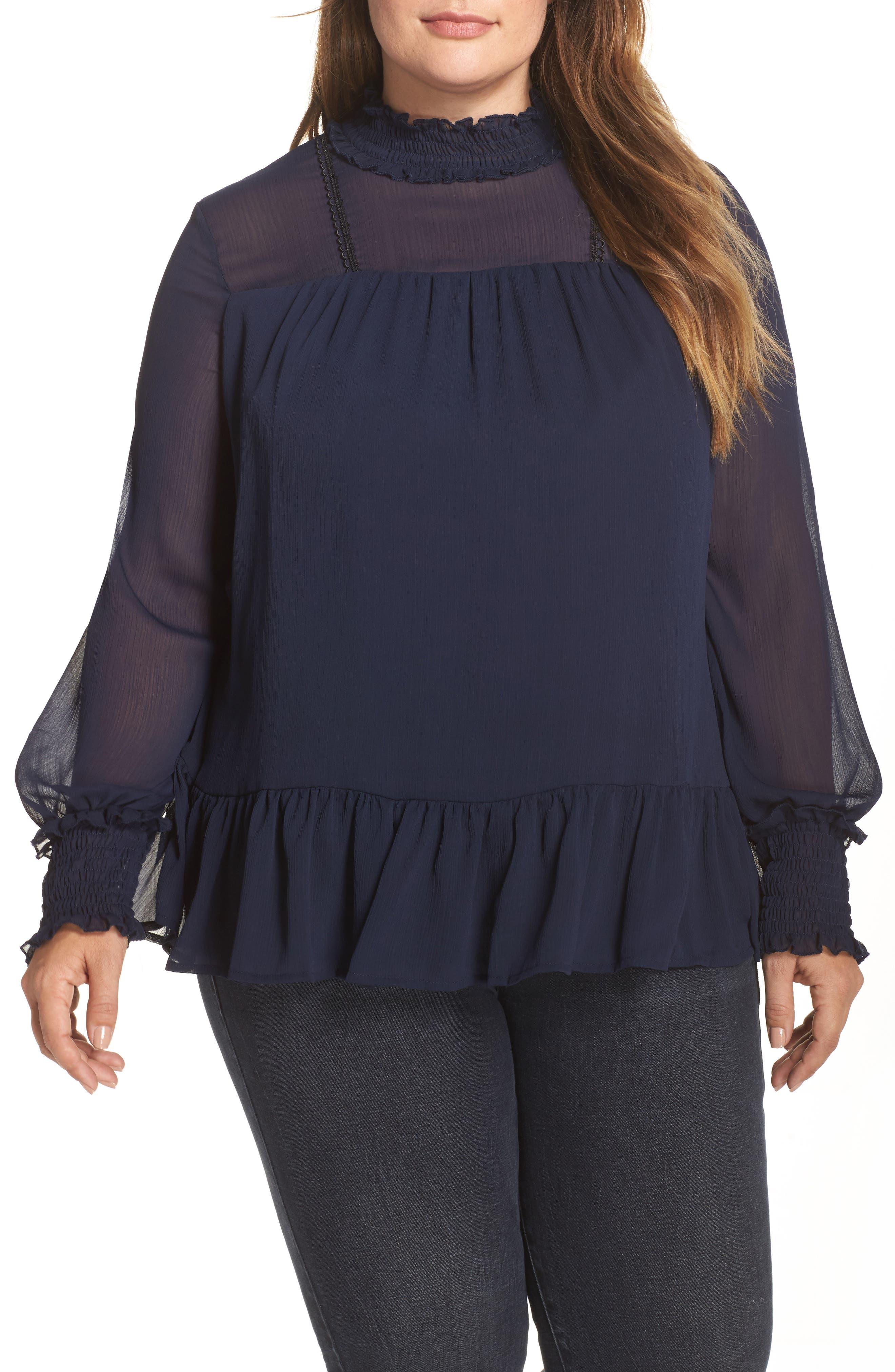 Lace Trim Babydoll Top,                         Main,                         color, Navy