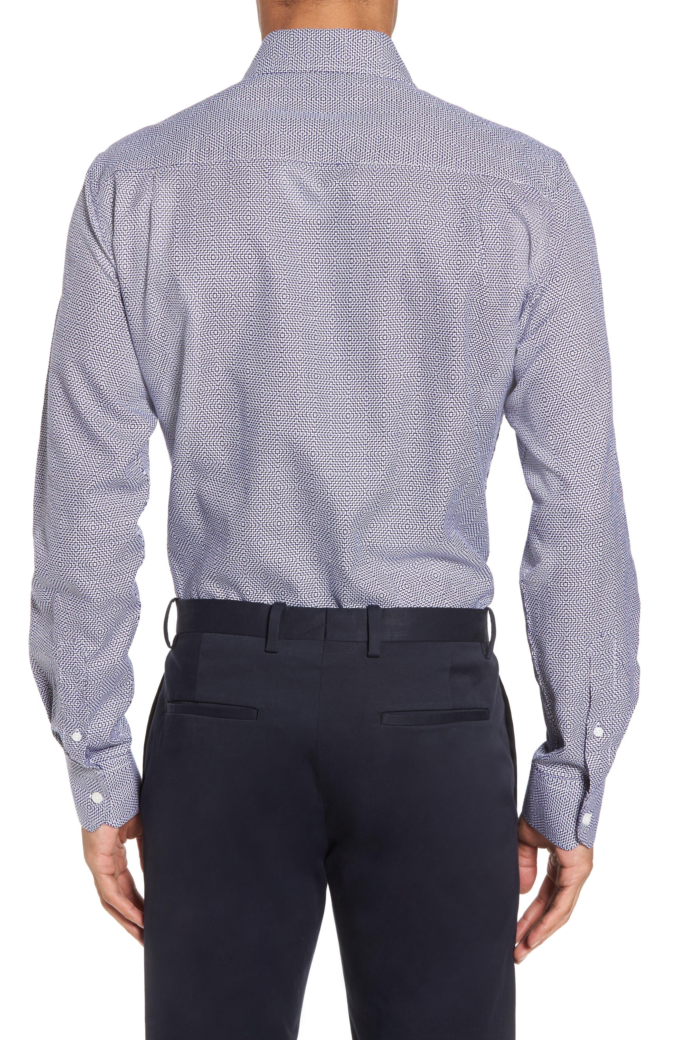 Trim Fit Geometric Dress Shirt,                             Alternate thumbnail 2, color,                             Navy