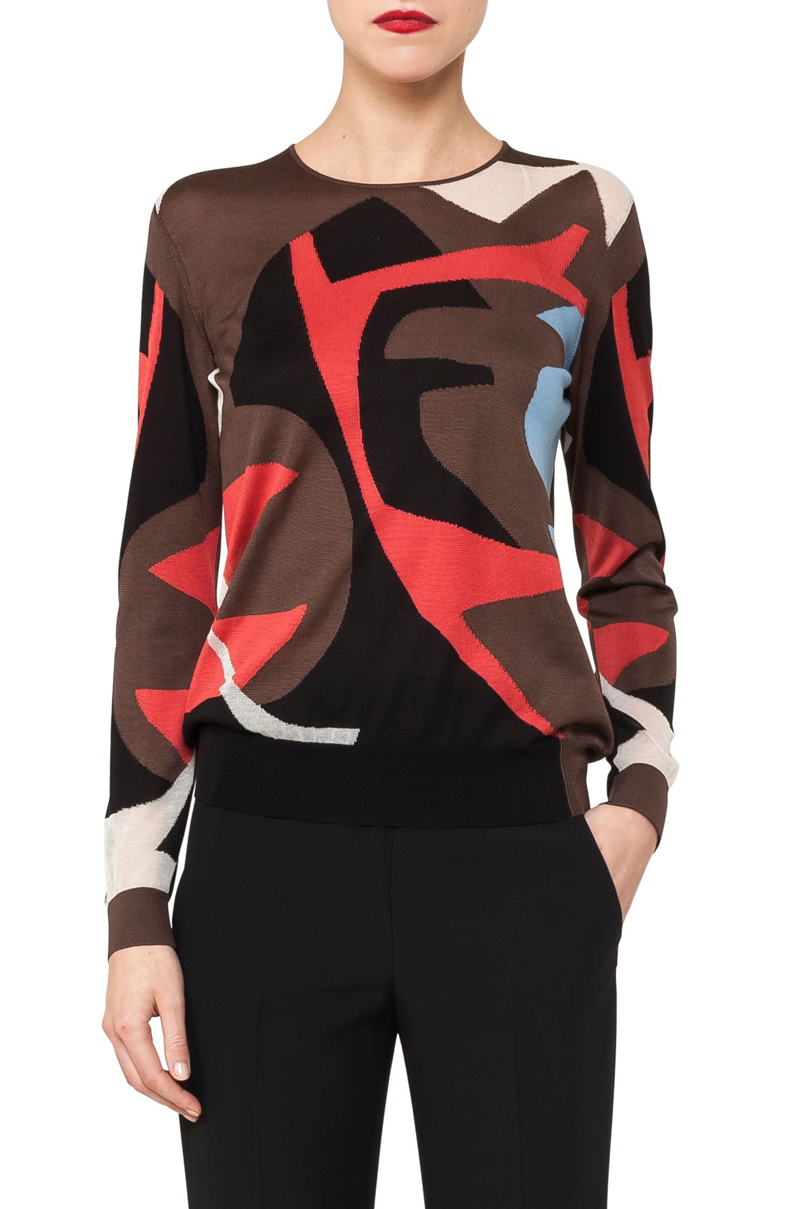 Silk & Cotton Intarsia Knit Sweater,                         Main,                         color, Maple Multicolor
