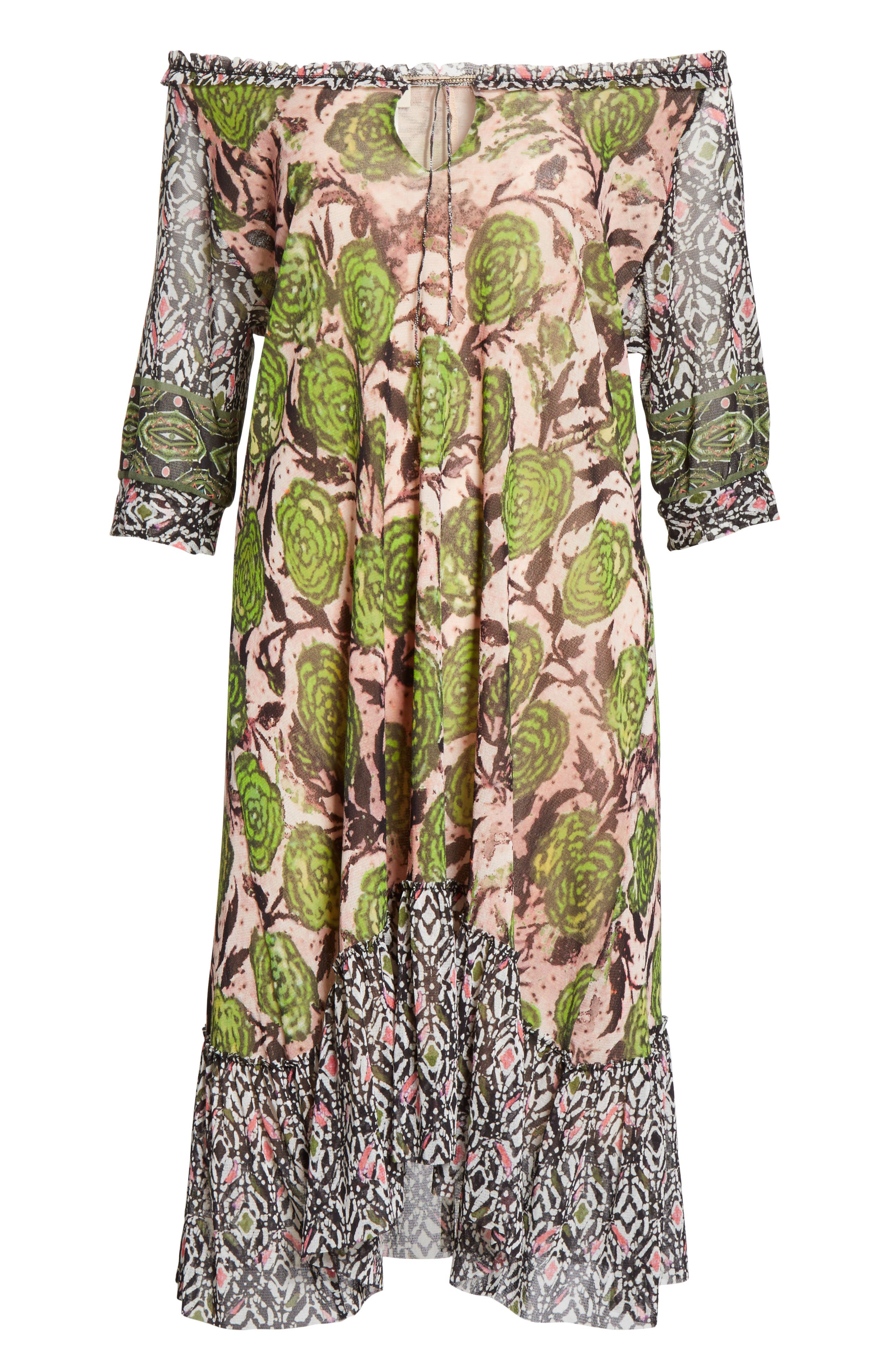 Print Tulle Peasant Dress,                             Alternate thumbnail 7, color,                             Pelato