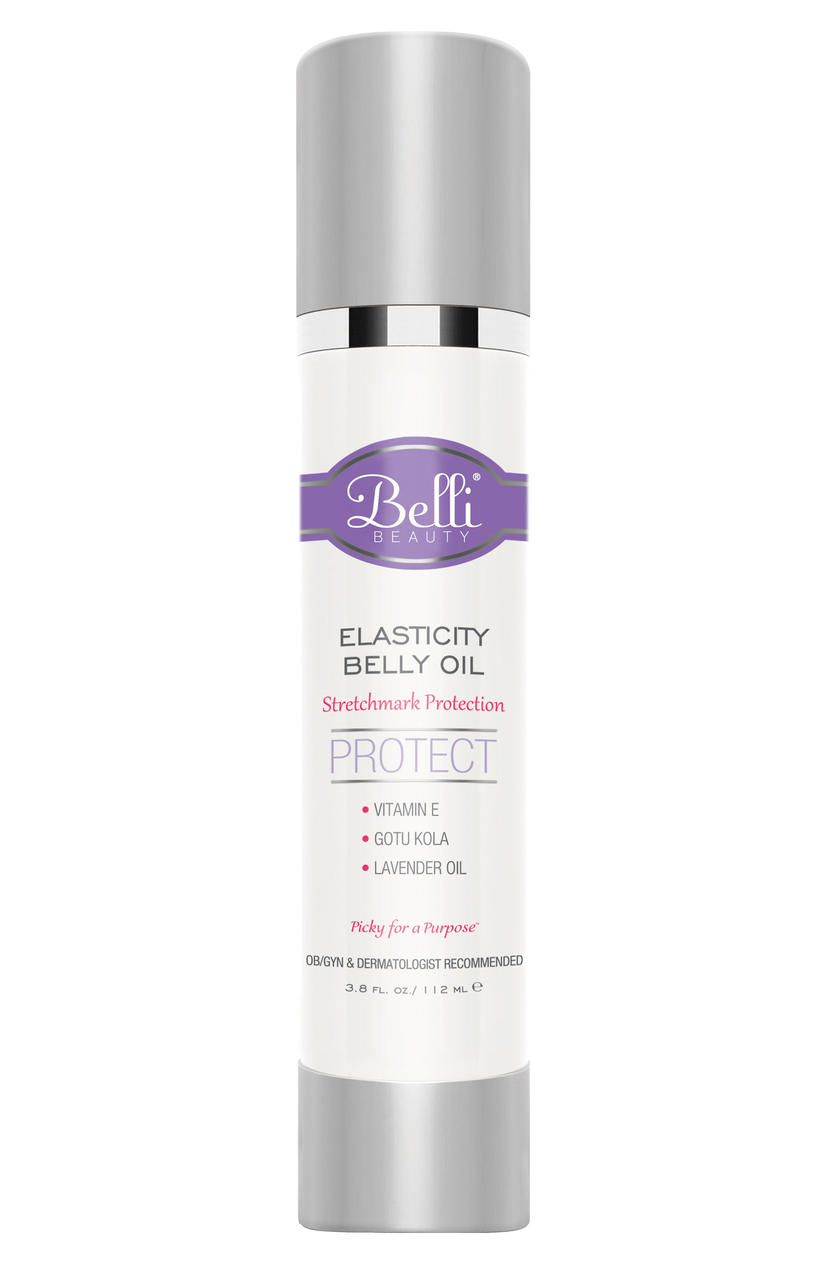 'Elasticity' Belly Oil for Stretch Mark Protection,                             Main thumbnail 1, color,                             White