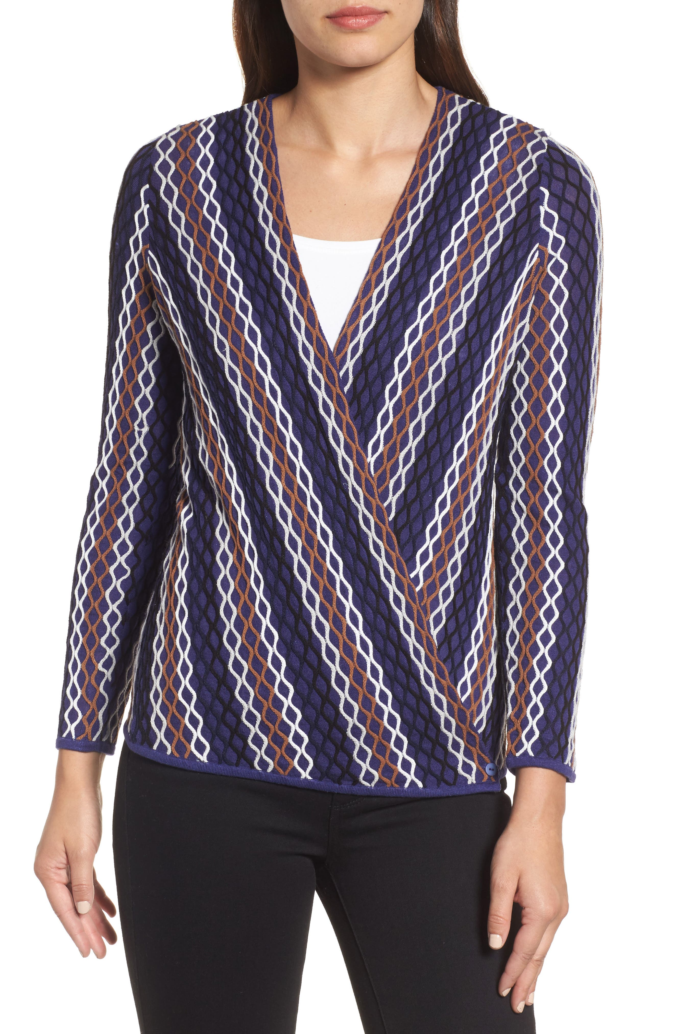 NIC+ ZOE Squiggled Up 4-Way Convertible Cardigan,                             Alternate thumbnail 4, color,                             Blue Multi