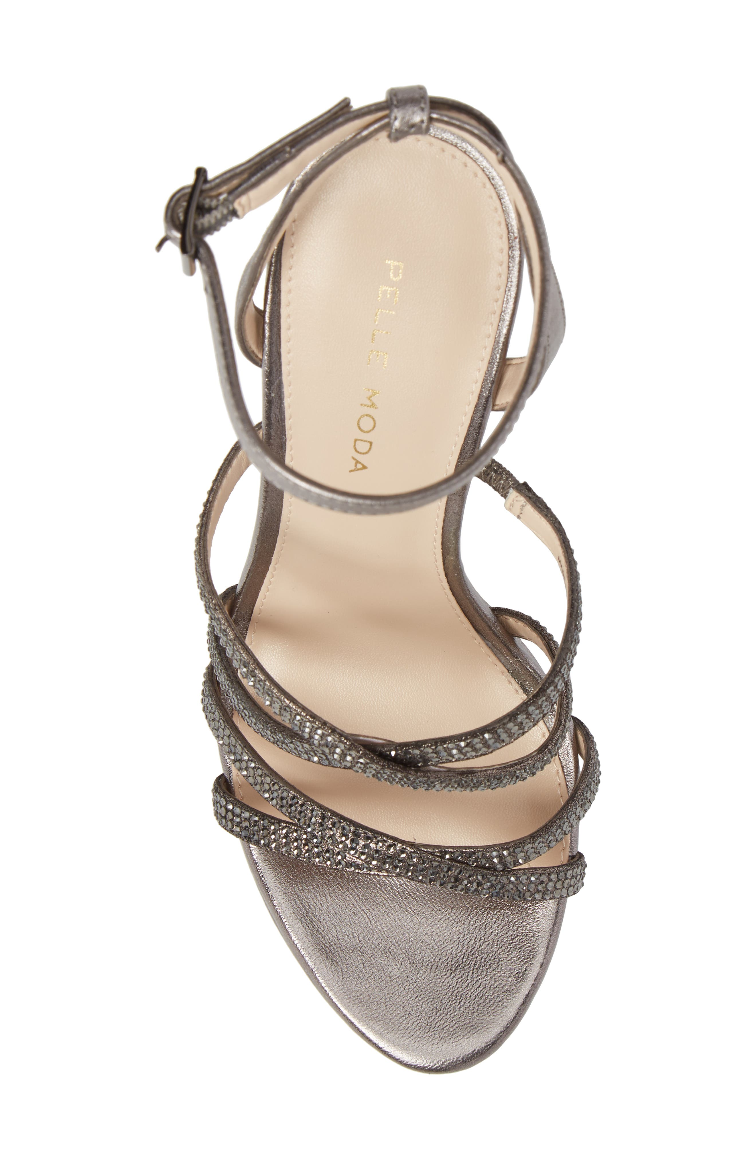 Oak Platform Sandal,                             Alternate thumbnail 5, color,                             Pewter Metallic Suede