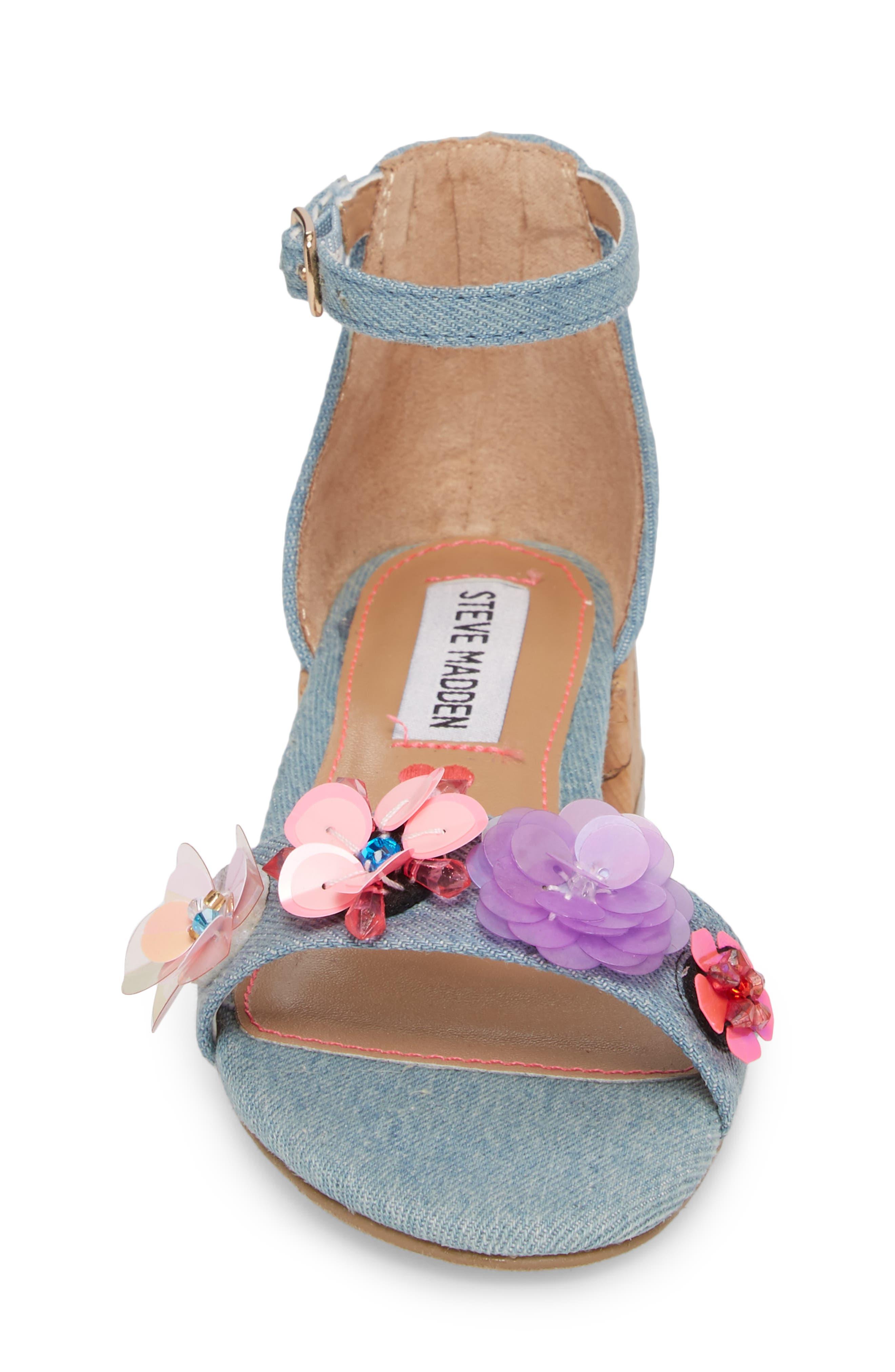 Iriss Embellished Flower Sandal,                             Alternate thumbnail 4, color,                             Denim