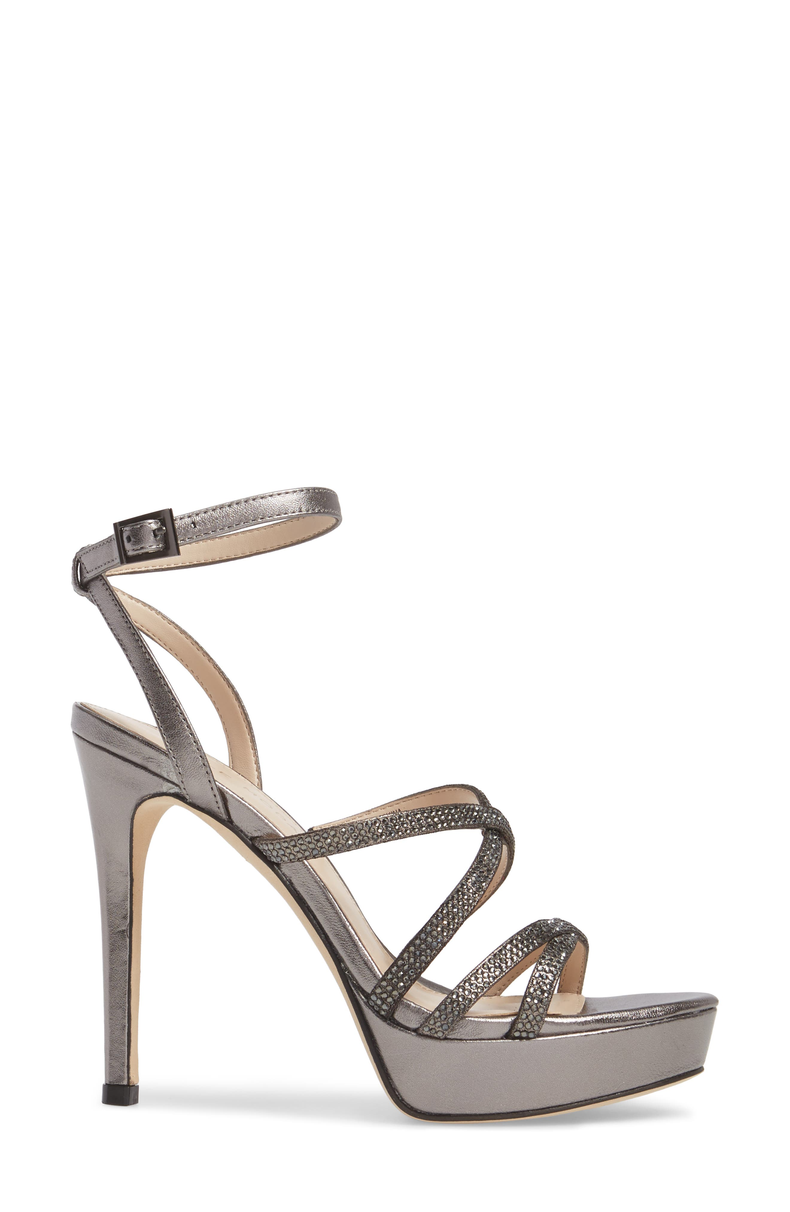 Oak Platform Sandal,                             Alternate thumbnail 3, color,                             Pewter Metallic Suede