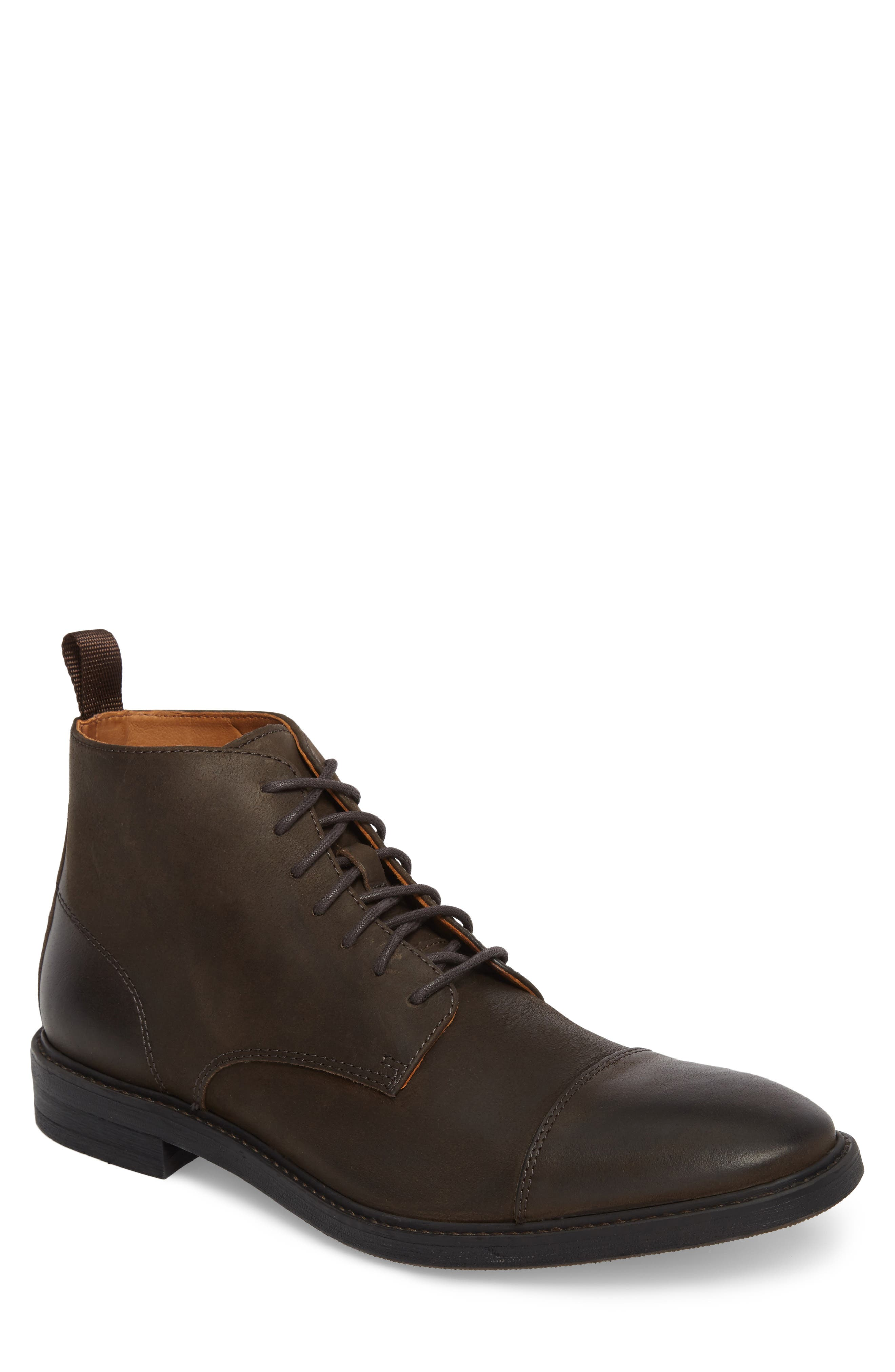 Pateros Cap Toe Boot,                             Main thumbnail 1, color,                             Chocolate Leather