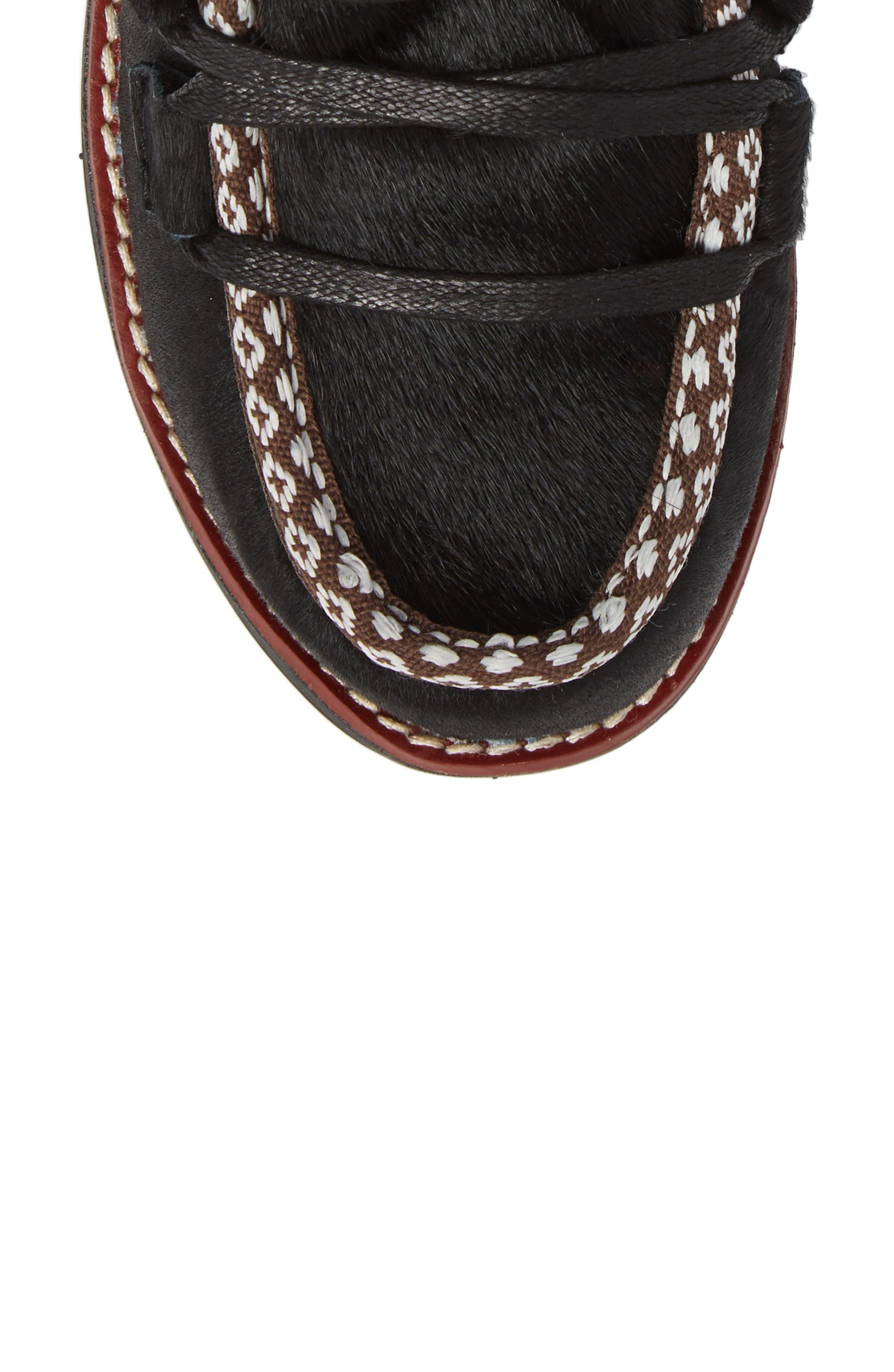 Kitchener Waterproof Genuine Calf Hair Snow Boot,                             Alternate thumbnail 5, color,                             Black