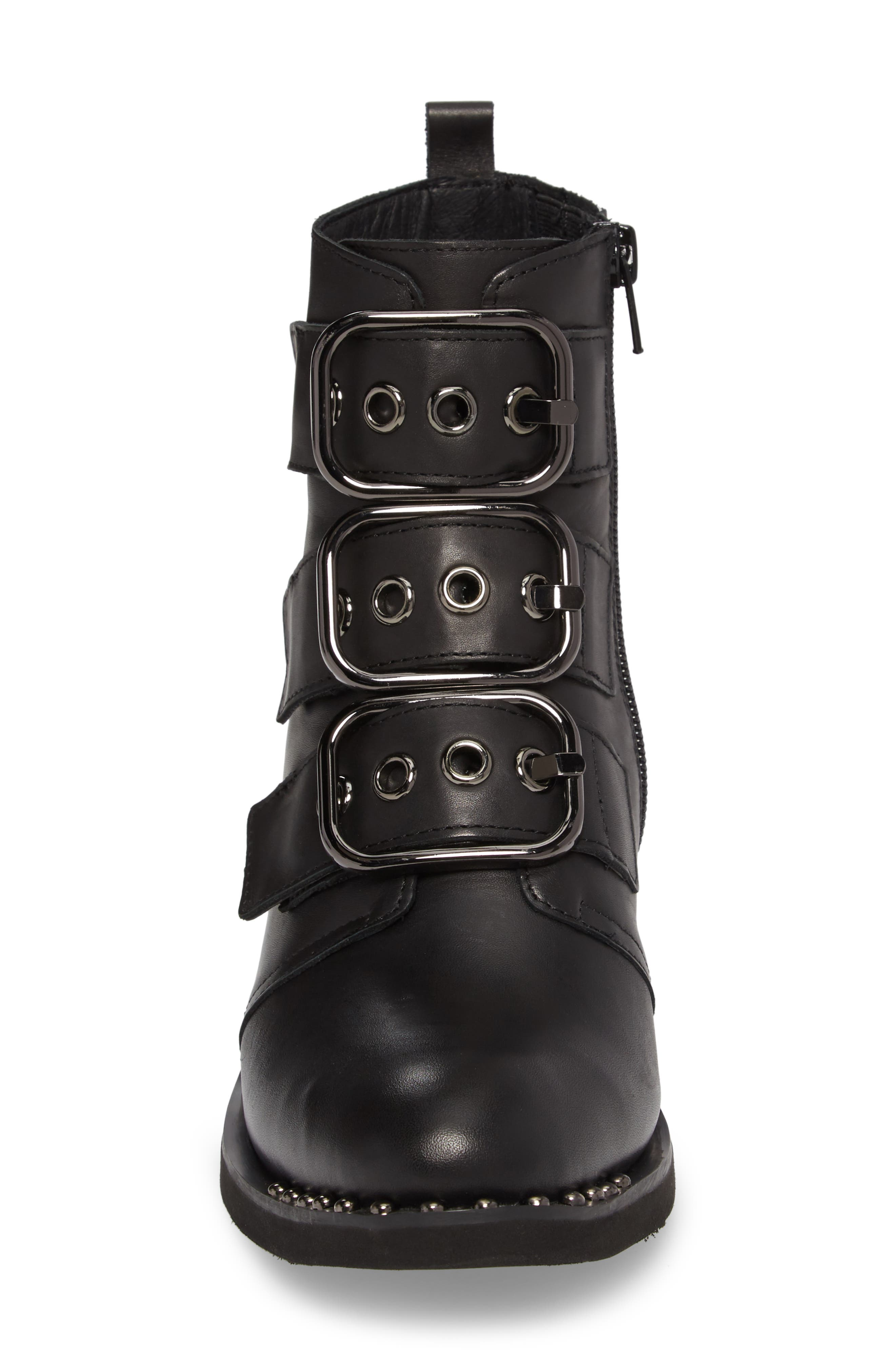 Todd Buckle Strap Bootie,                             Alternate thumbnail 4, color,                             Black