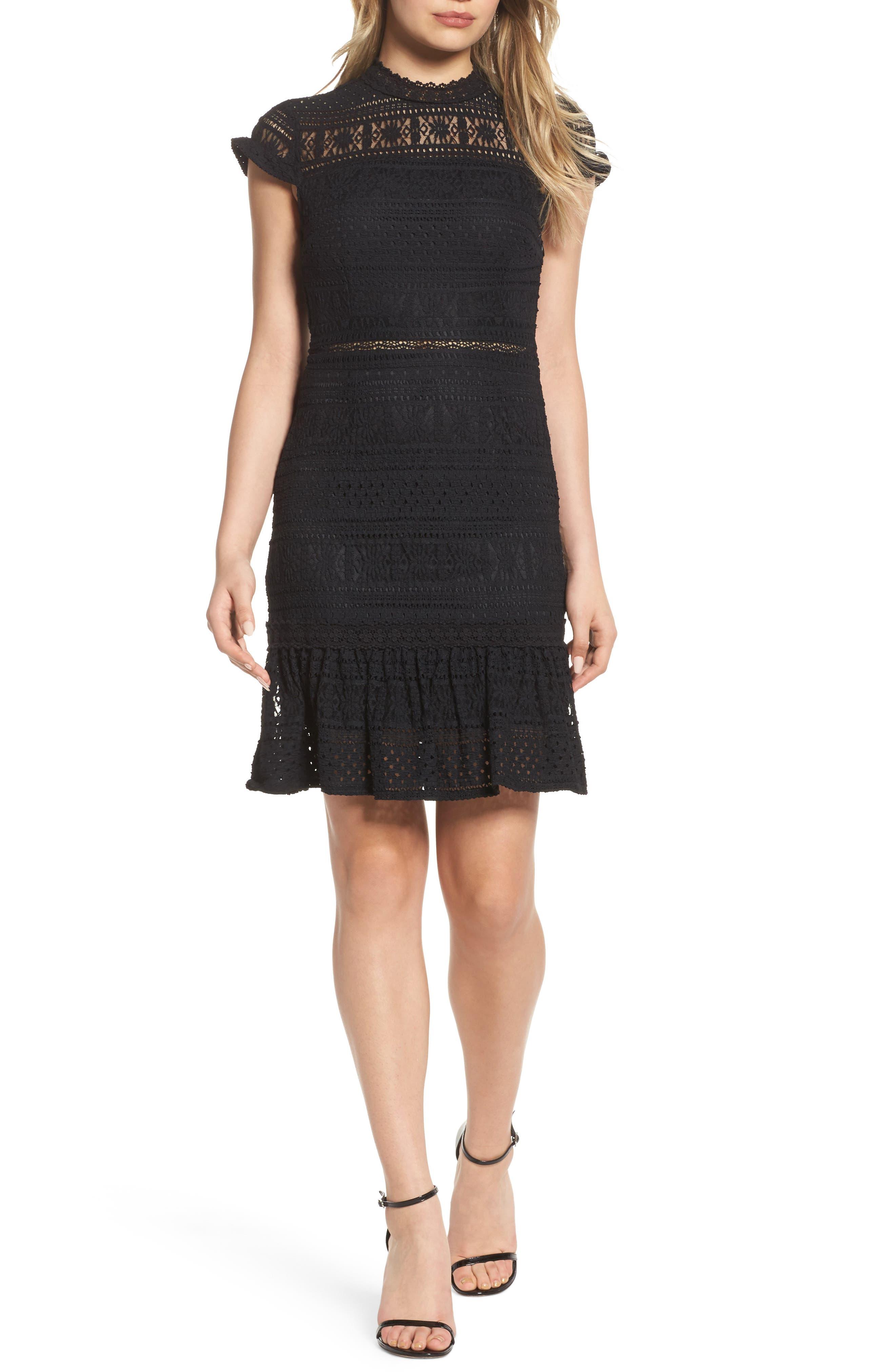 Ellie Fit & Flare Lace Dress,                         Main,                         color, Black