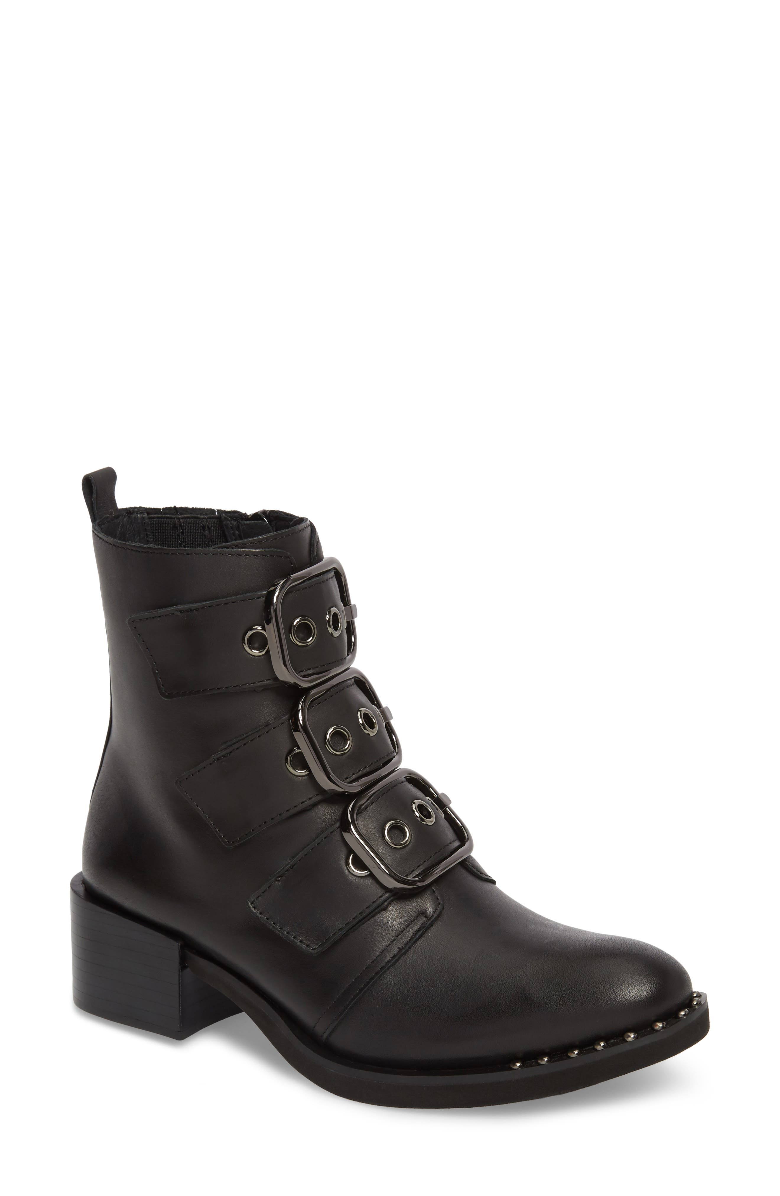 Todd Buckle Strap Bootie,                             Main thumbnail 1, color,                             Black