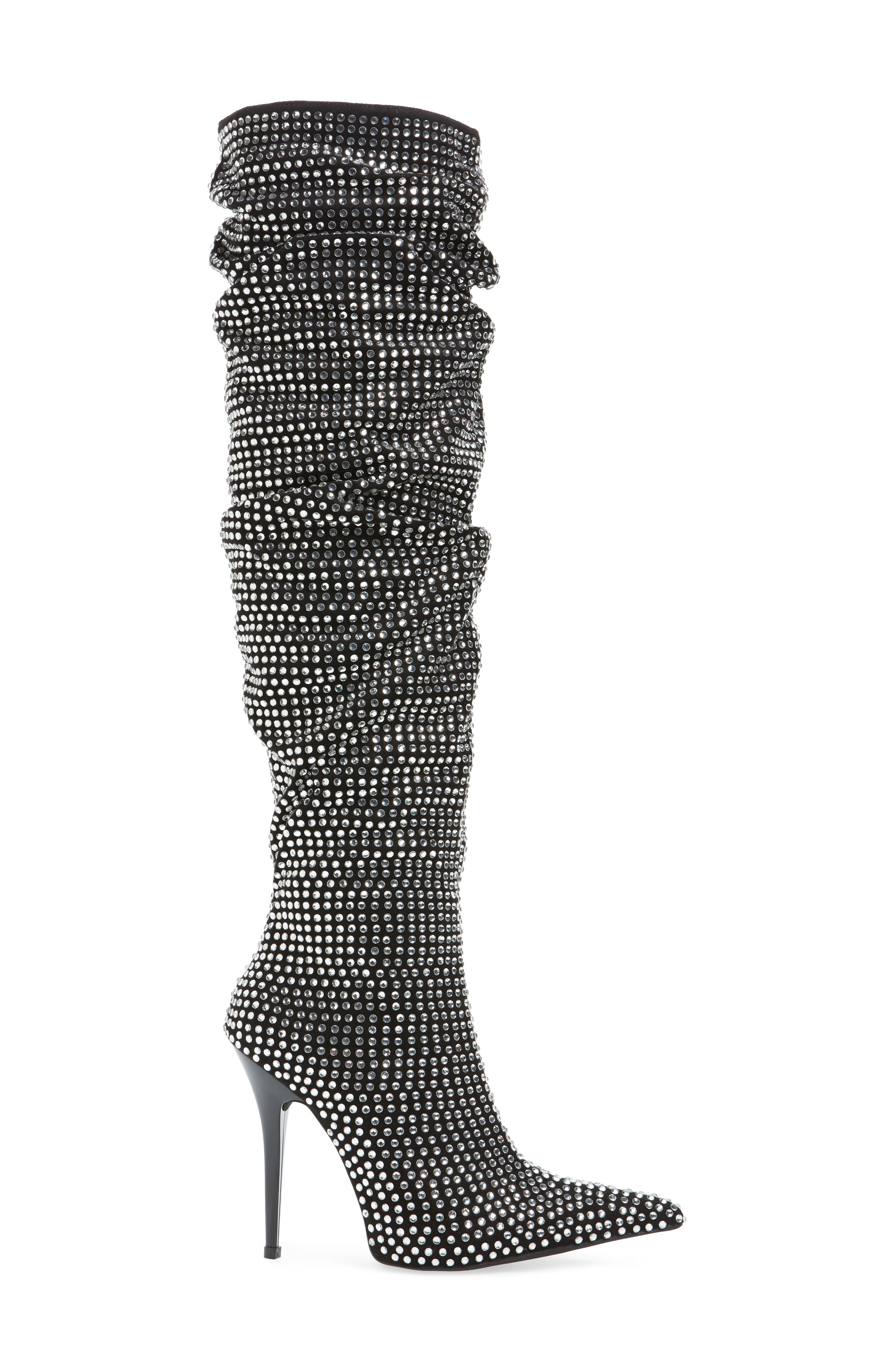 Cry4U Over the Knee Slouch Boot,                             Alternate thumbnail 3, color,                             Black Suede Silver