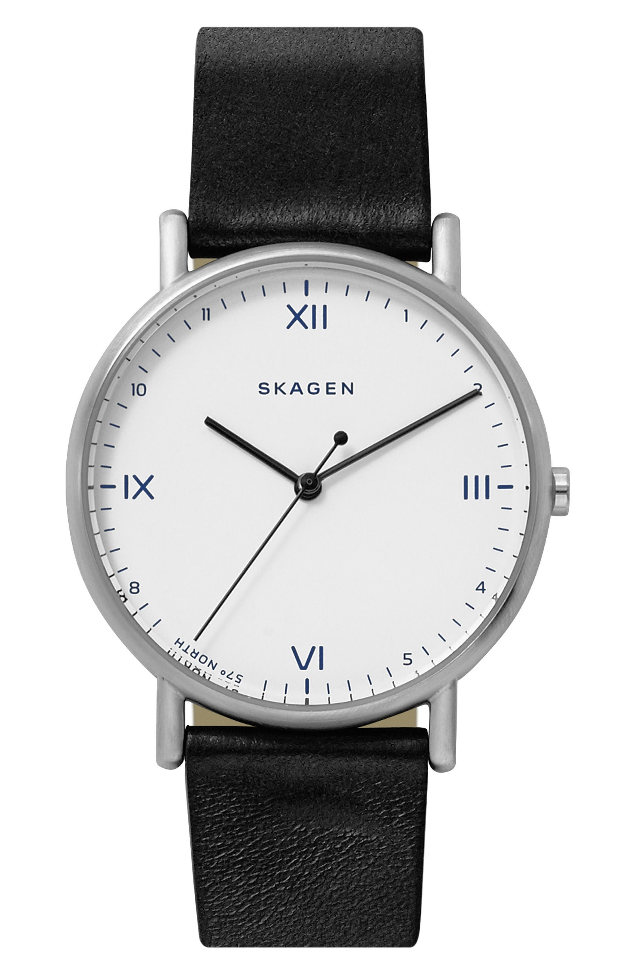 x Playtype Signatur Leather Strap Watch, 40mm,                         Main,                         color, Black/ White/ Silver