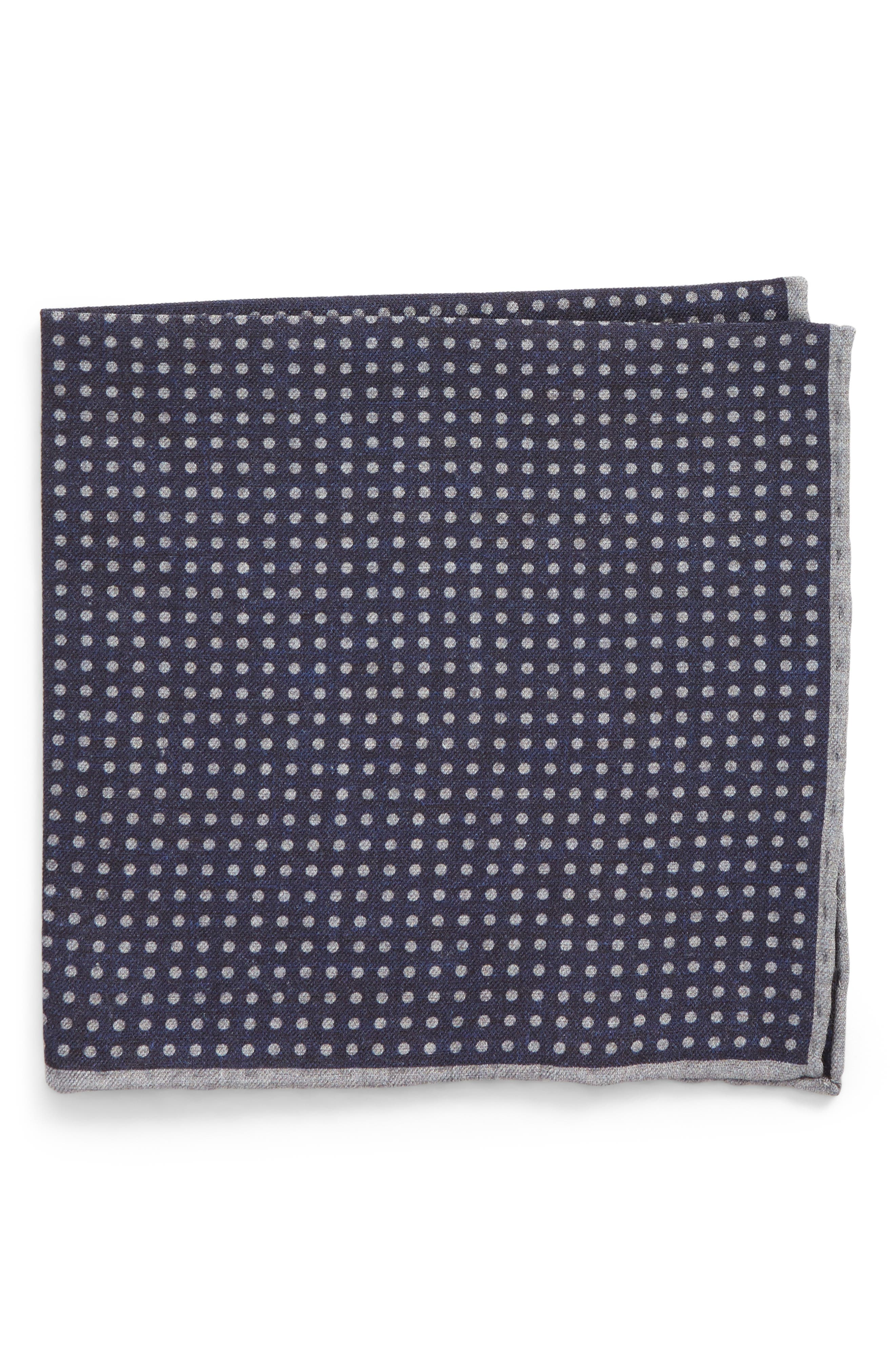 Dot Wool & Cotton Pocket Square,                             Main thumbnail 1, color,                             Navy