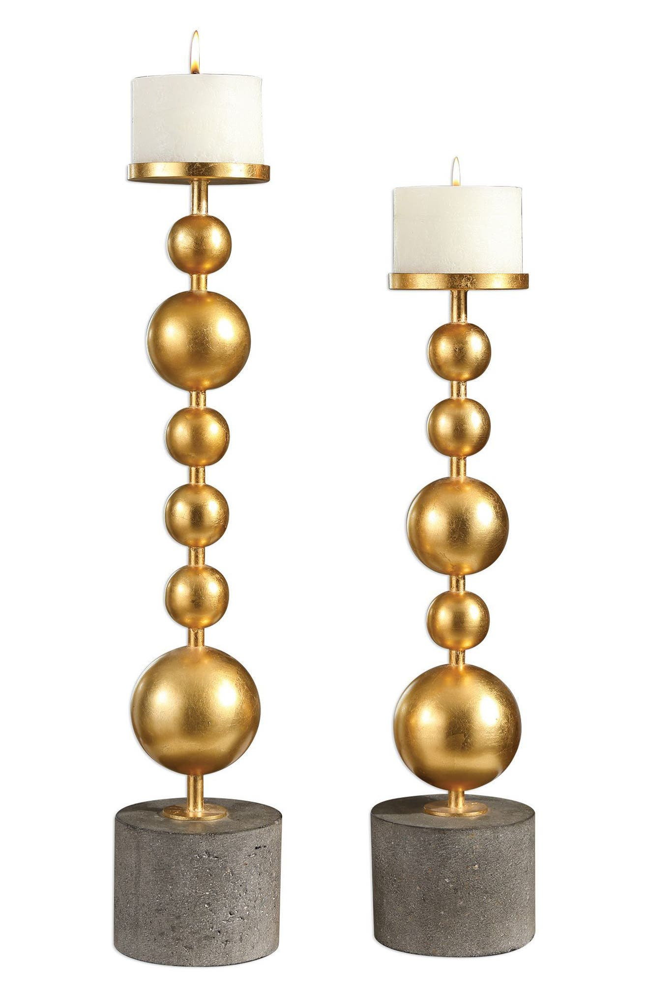 Selim Set of 2 Candleholders,                             Main thumbnail 1, color,                             Metallic Gold