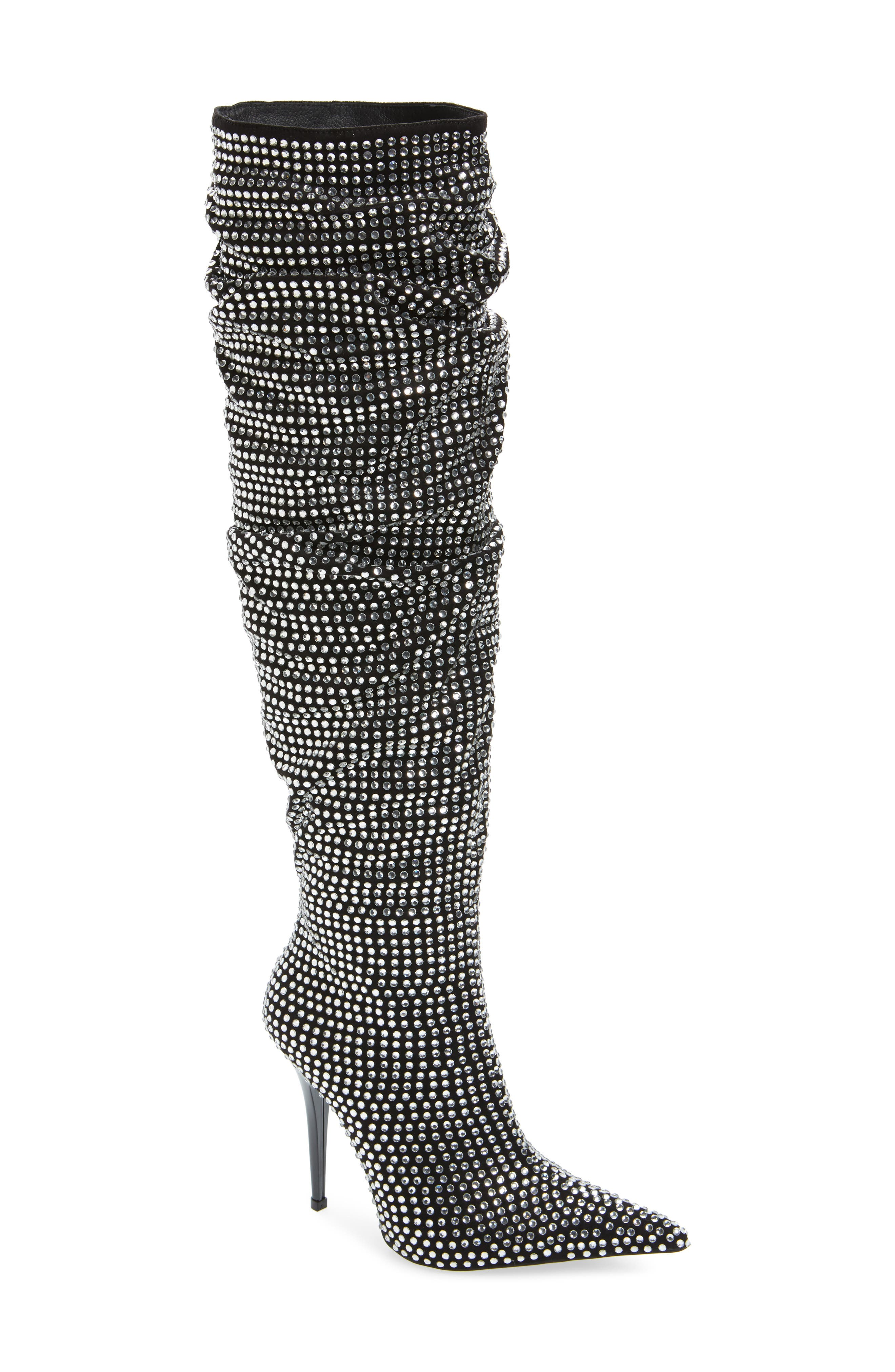 Cry4U Over the Knee Slouch Boot,                         Main,                         color, Black Suede Silver