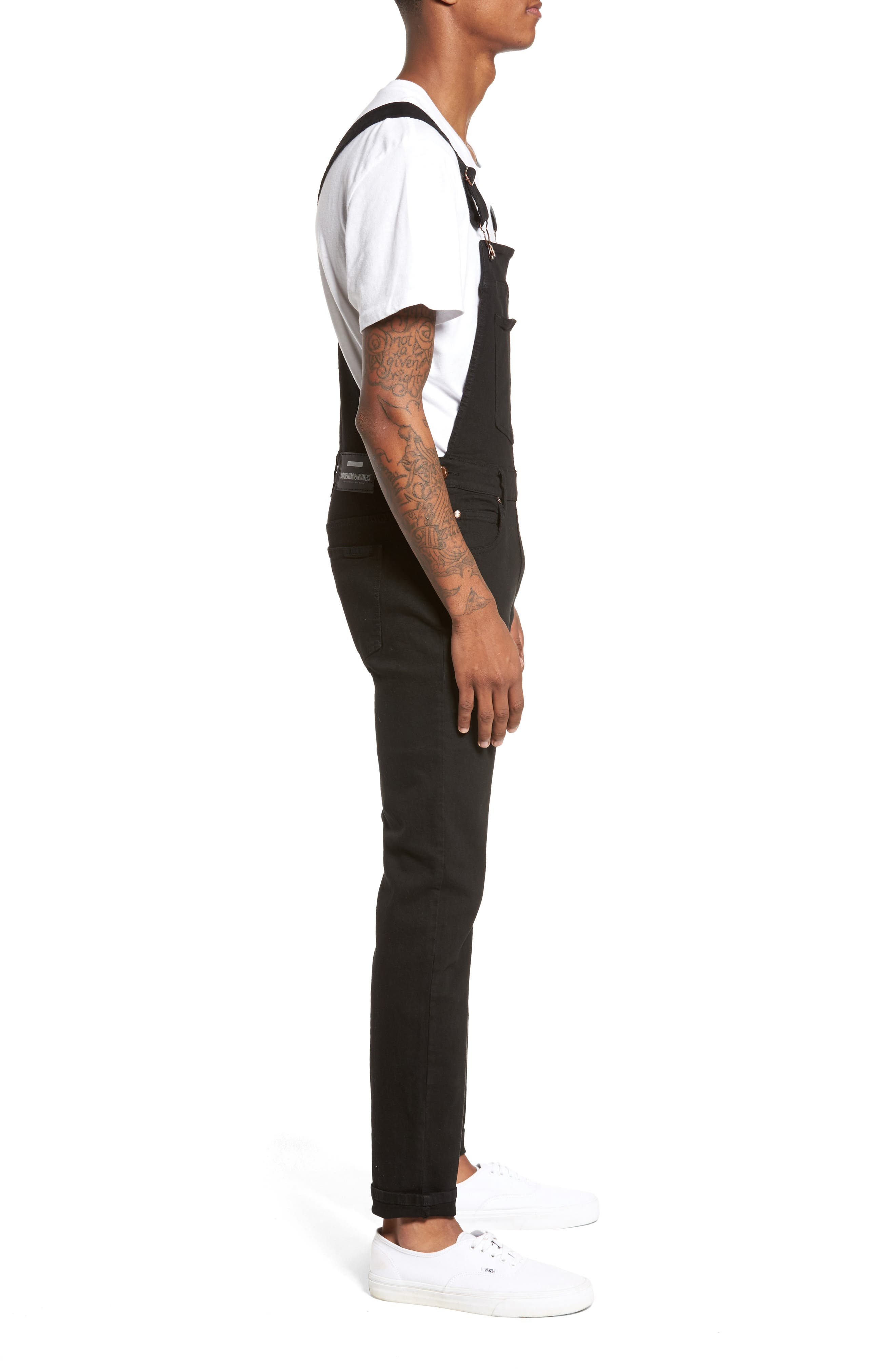 Ira Skinny Fit Overalls,                             Alternate thumbnail 3, color,                             Black