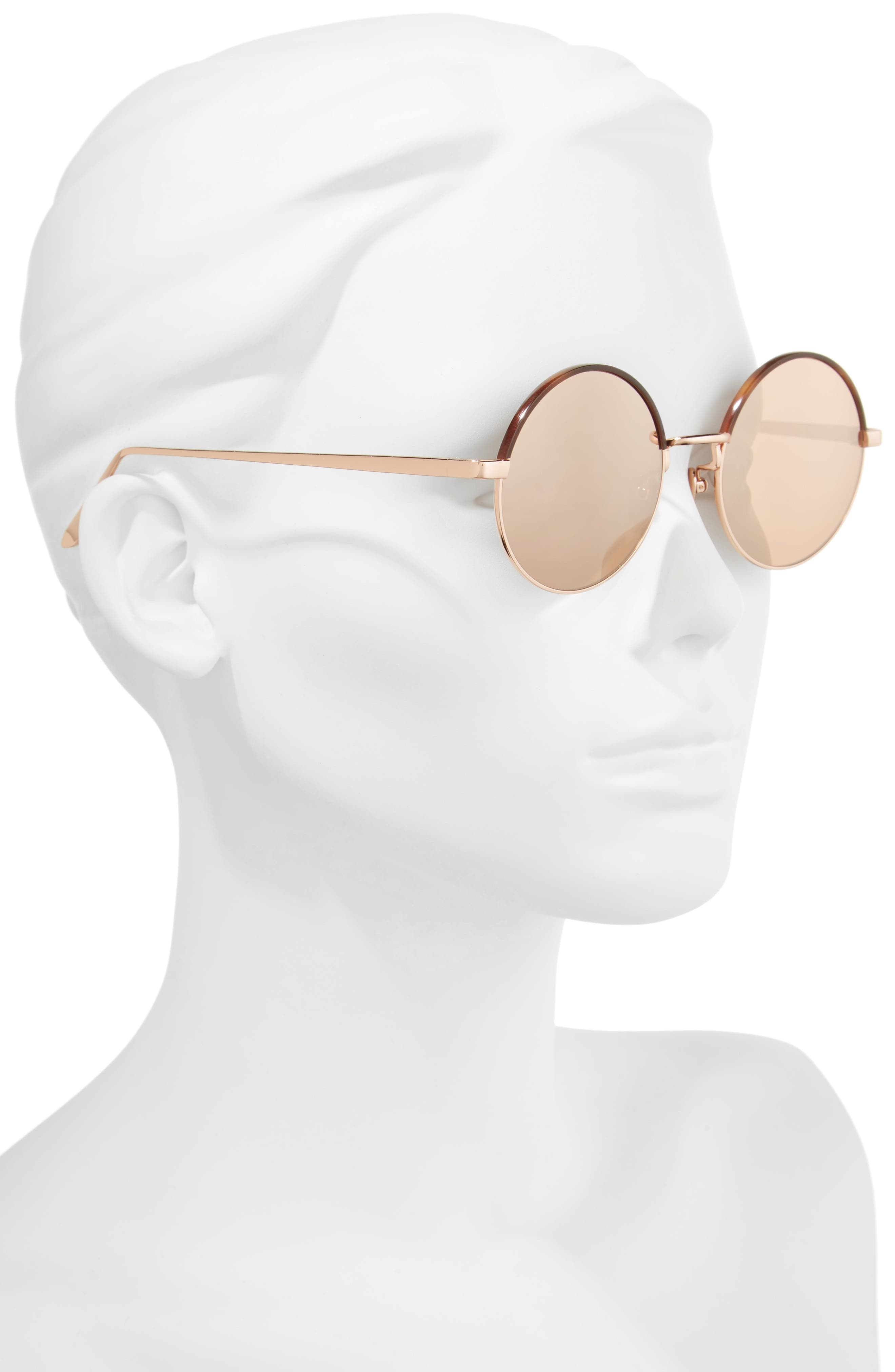Alternate Image 2  - Linda Farrow 51mm Mirrored 18 Karat Gold Trim Round Sunglasses