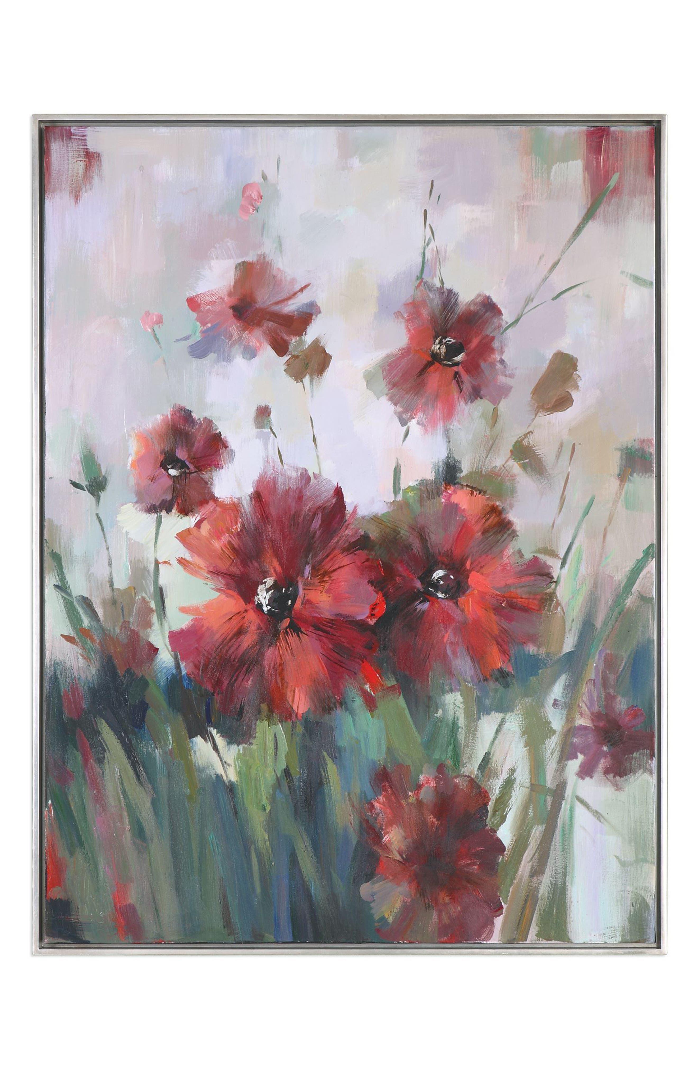 Blooming Red Canvas Wall Art,                             Main thumbnail 1, color,                             Burgundy