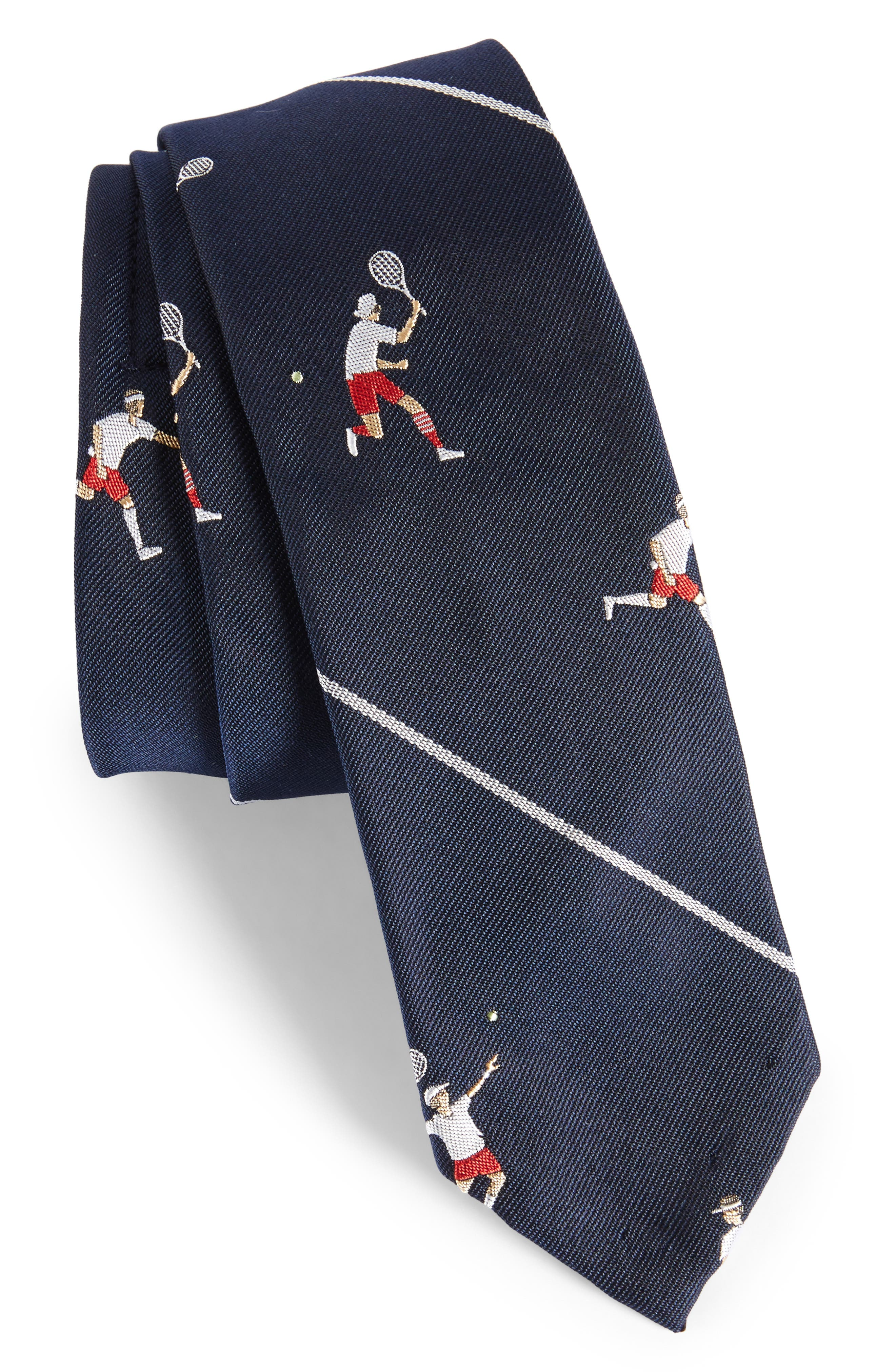 Tennis Player Silk Skinny Tie,                             Main thumbnail 1, color,                             Navy