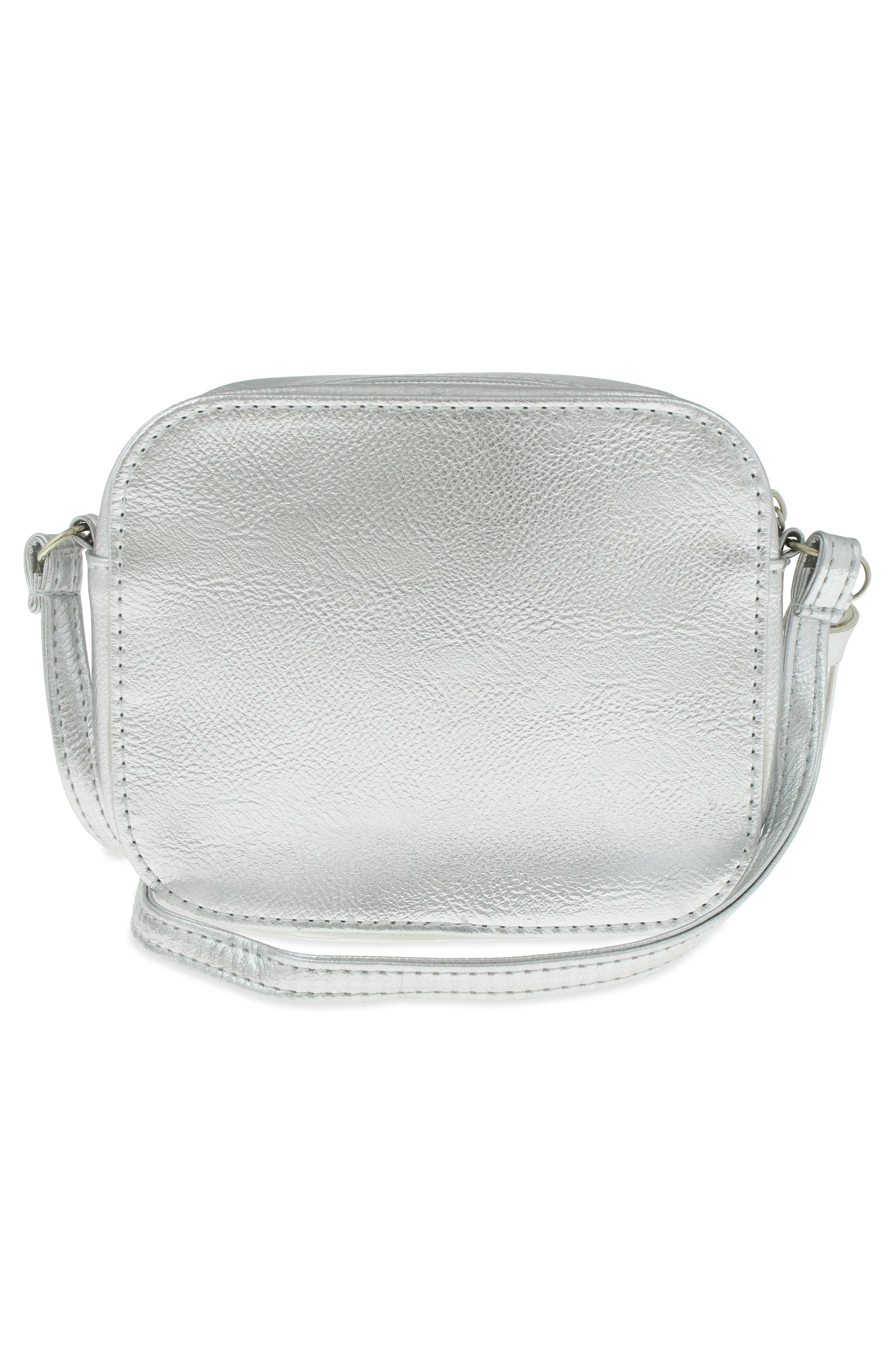 Peace Sign Faux Leather Crossbody Bag,                             Alternate thumbnail 4, color,                             Silver Combo