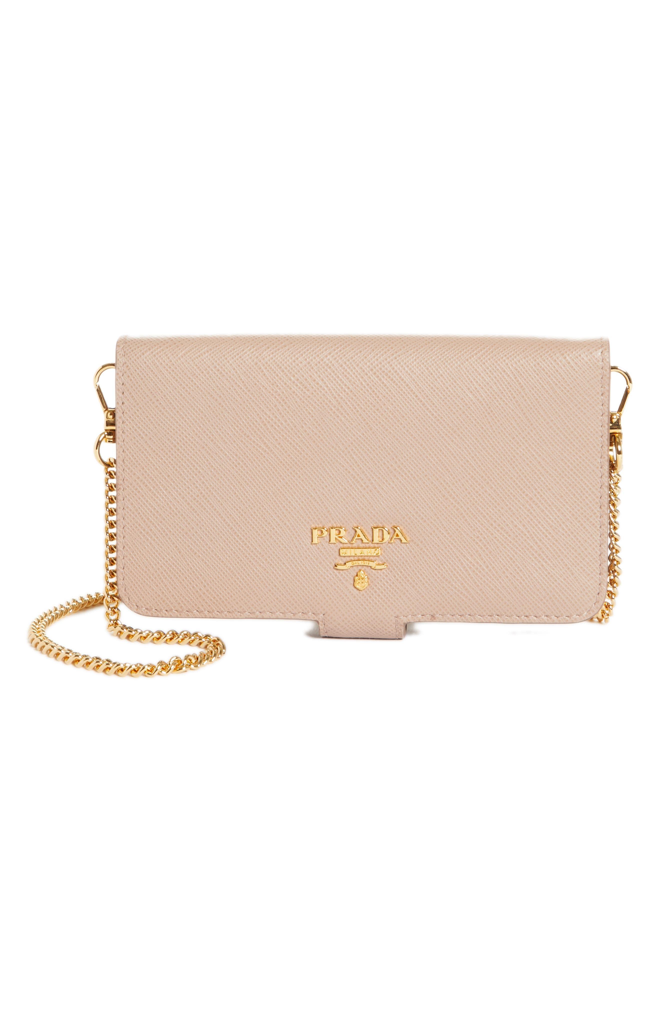 Saffiano Metal Oro Chain Book Phone Wallet,                         Main,                         color, Cipria