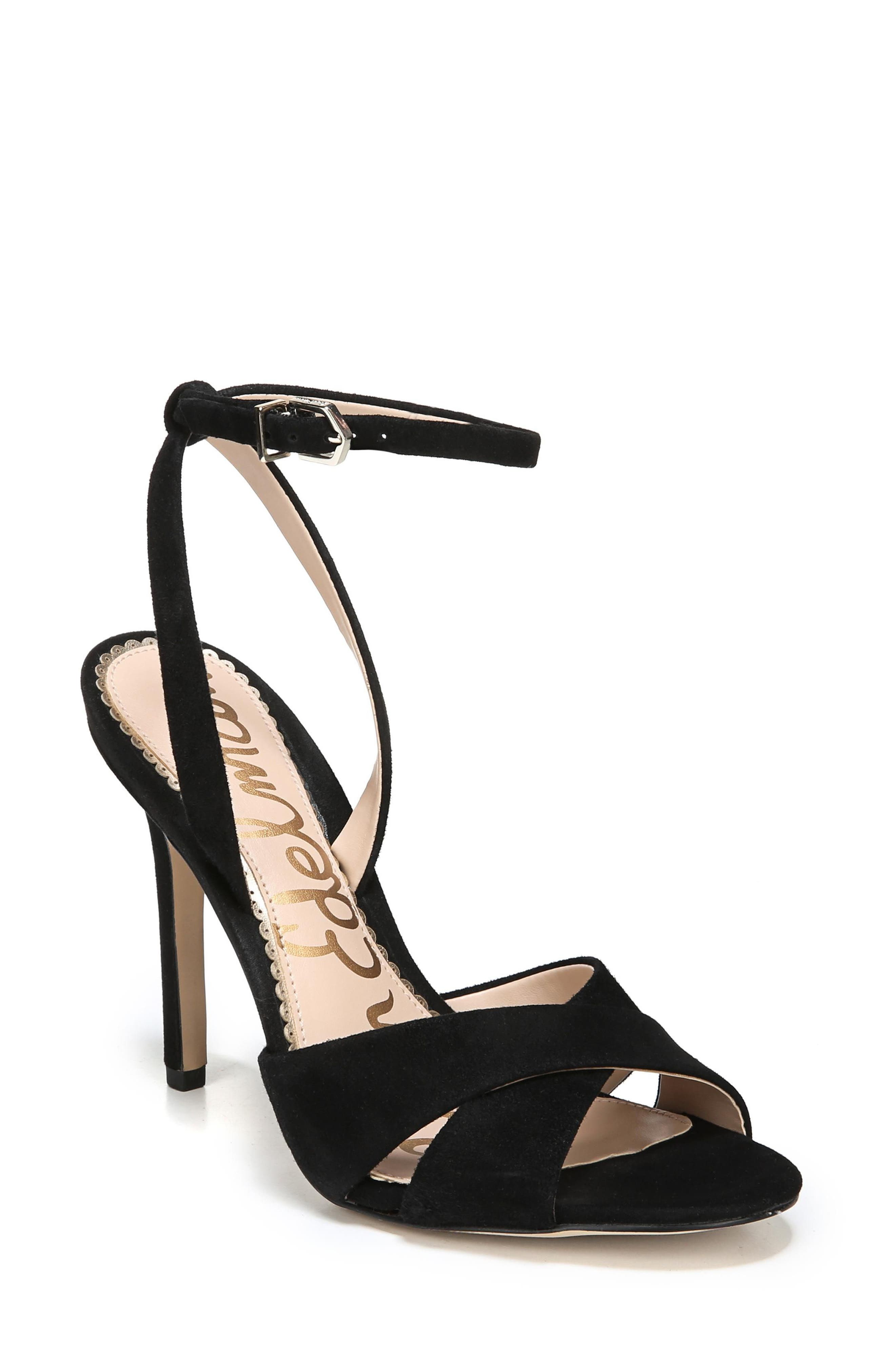 Aly Ankle Strap Sandal,                             Main thumbnail 1, color,                             Black Suede