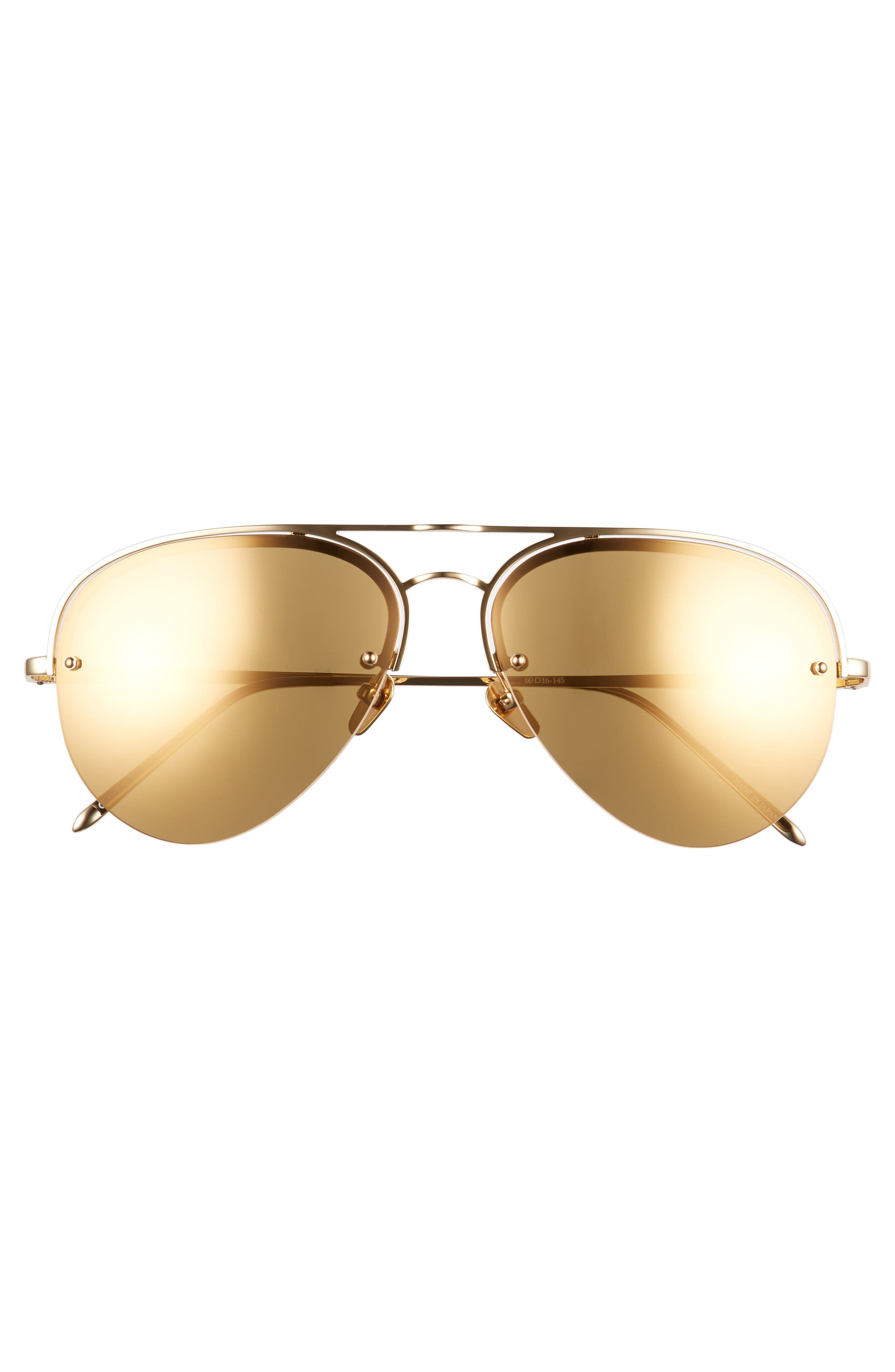 Alternate Image 3  - Linda Farrow 60mm Mirrored 22 Karat Gold Aviator Sunglasses