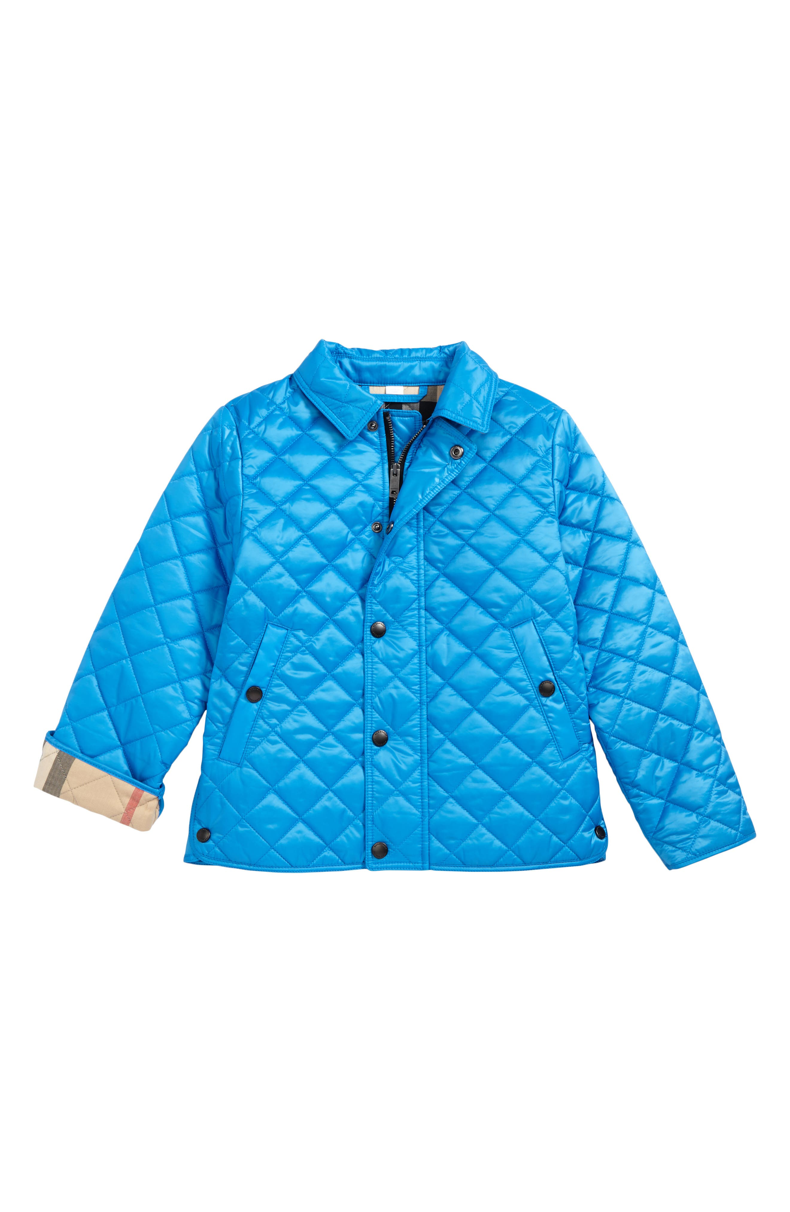 Luke Quilted Jacket,                         Main,                         color, Cyan Blue