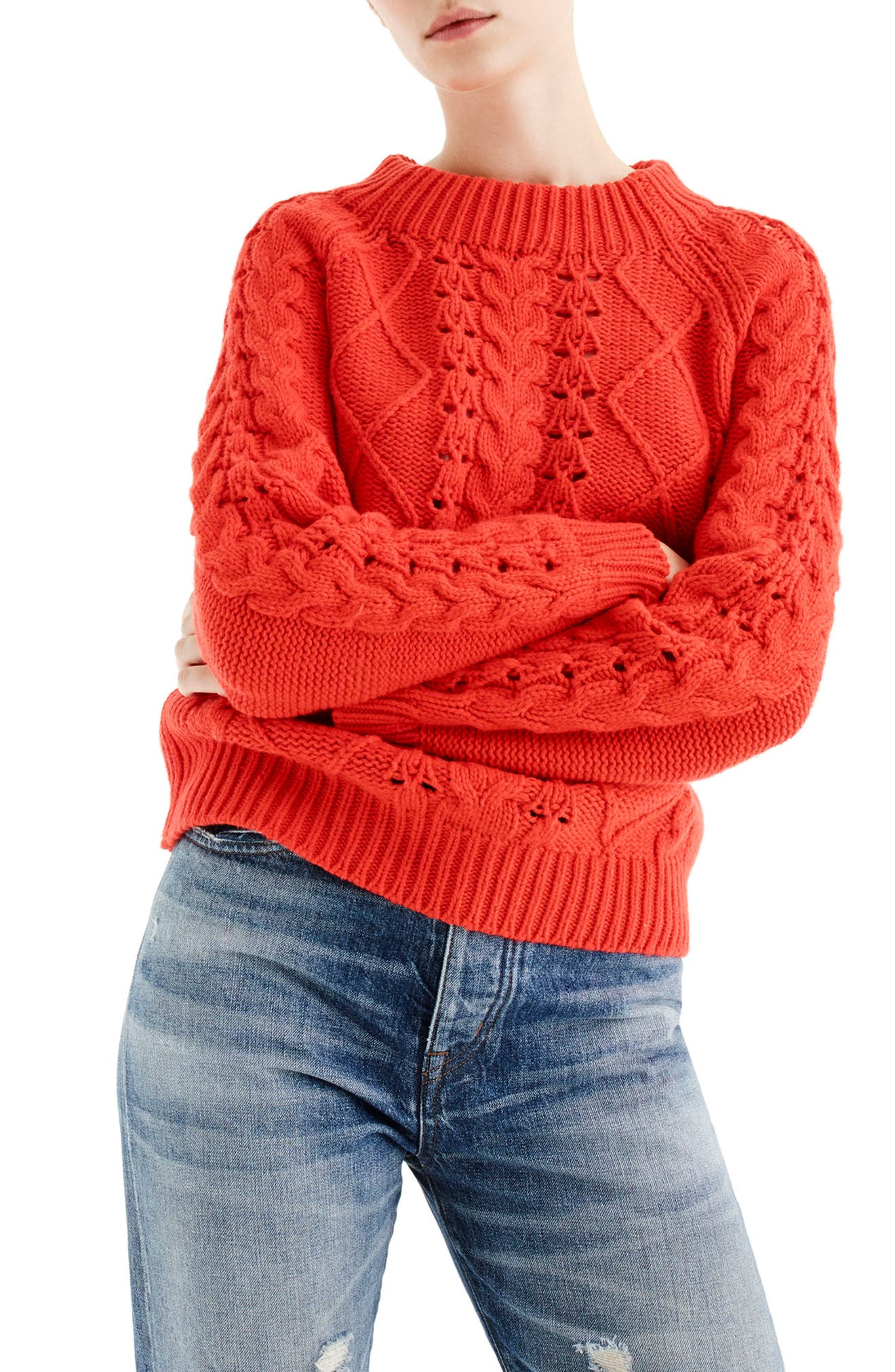 J.Crew Cable Knit Mock Neck Sweater,                         Main,                         color, Vibrant Flame