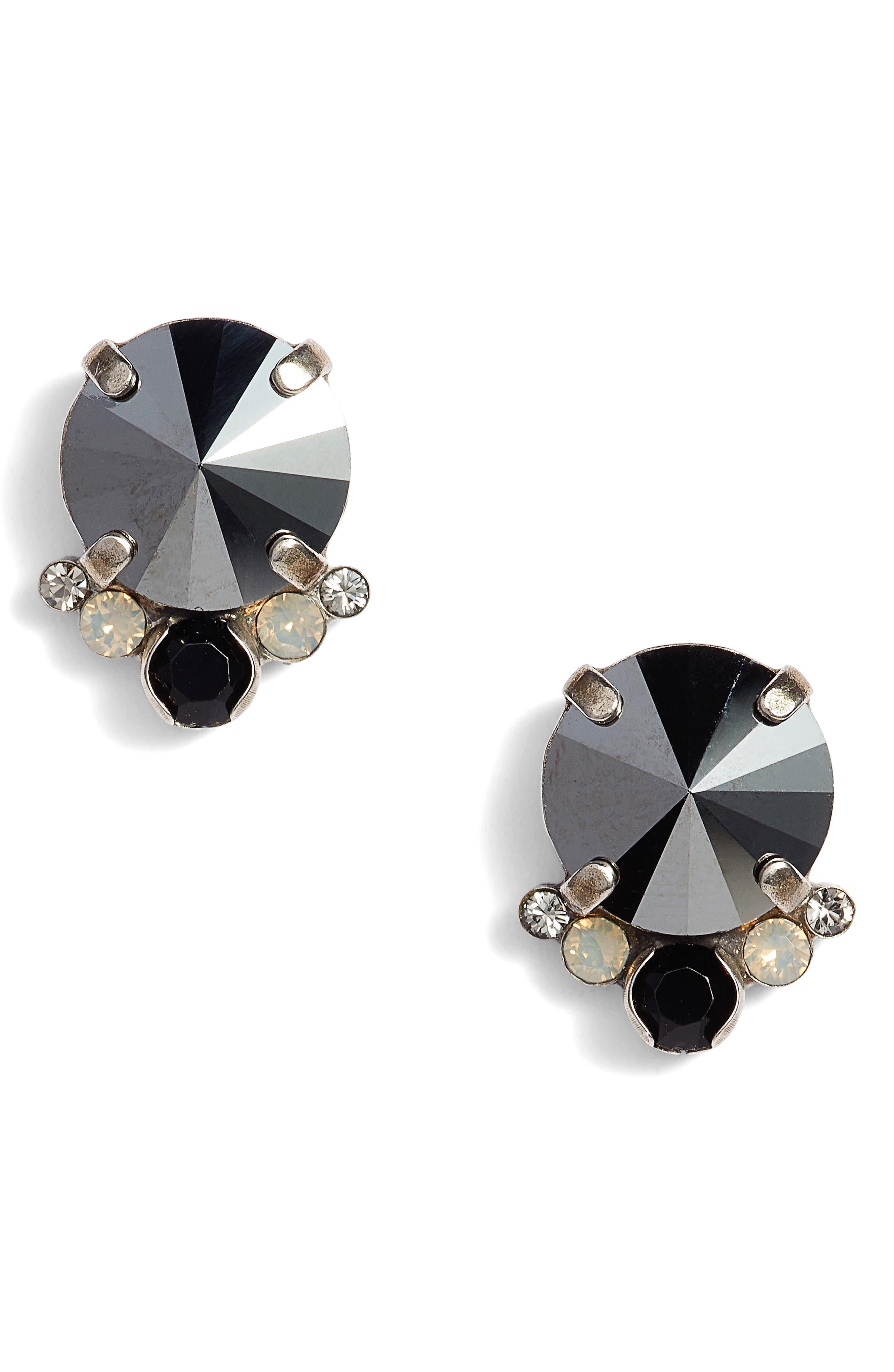 Regal Crystal Stud Earrings,                             Main thumbnail 1, color,                             Black