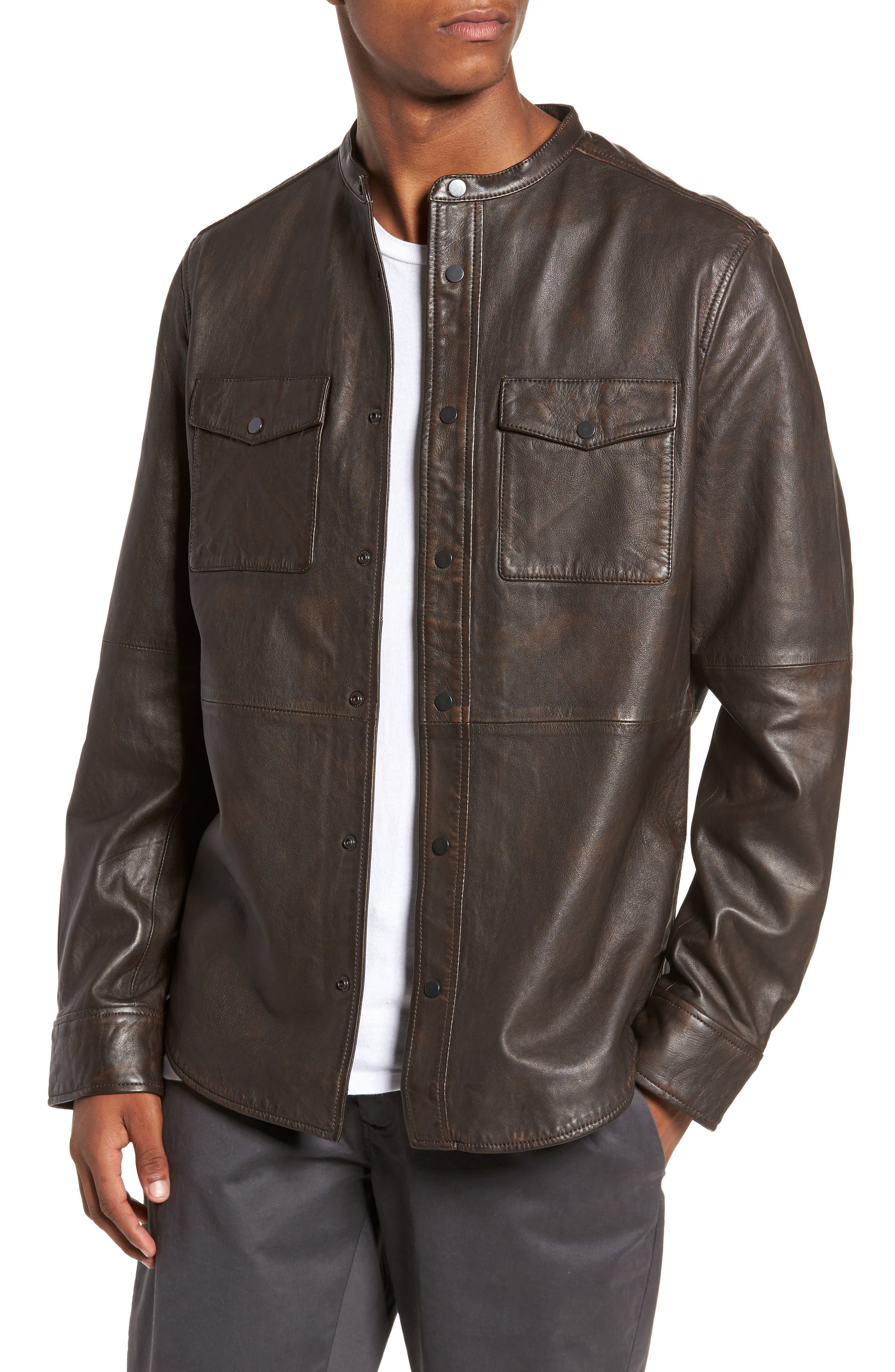 Atwater Leather Shirt Jacket,                             Main thumbnail 1, color,                             Brown Chicory