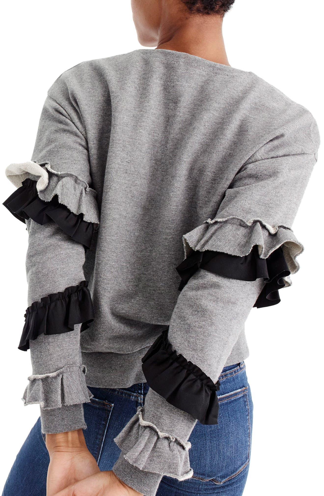 Ruffle Sleeve Sweatshirt,                             Alternate thumbnail 2, color,                             Heather Grey