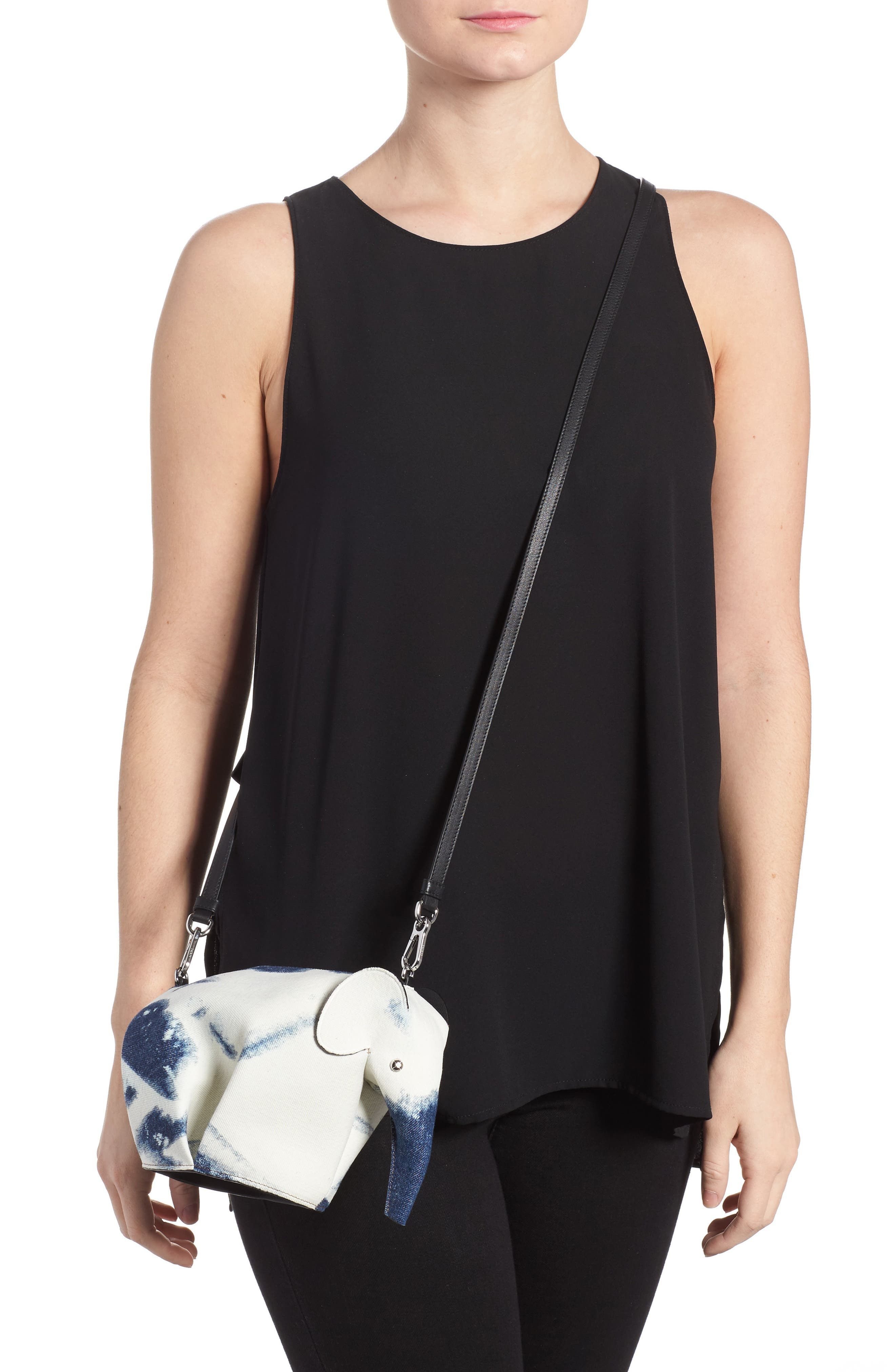 Denim Elephant Crossbody Bag,                             Alternate thumbnail 2, color,                             Blue Denim/ White/ Black