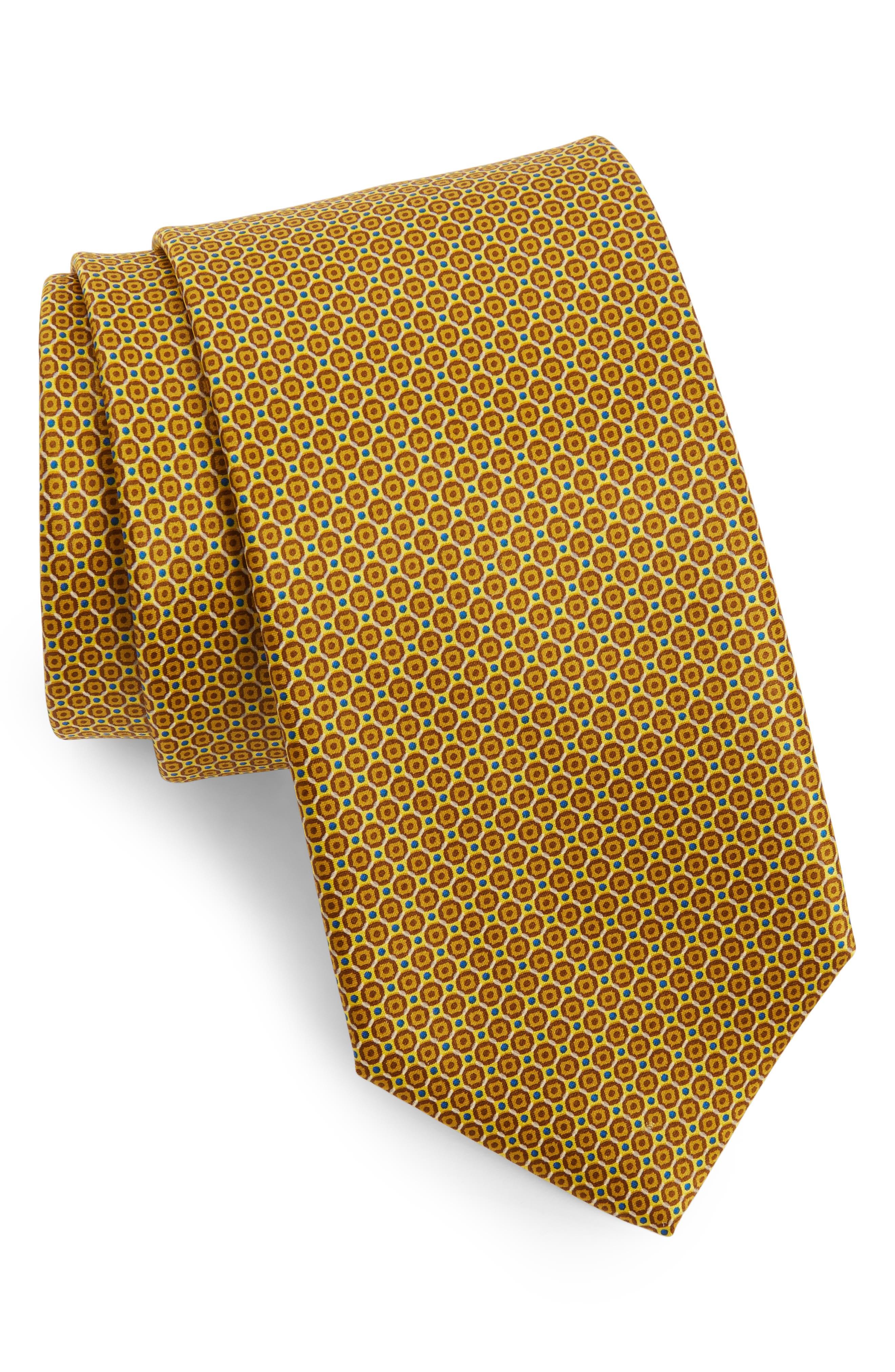 Medallion Silk Tie,                         Main,                         color, Yellow