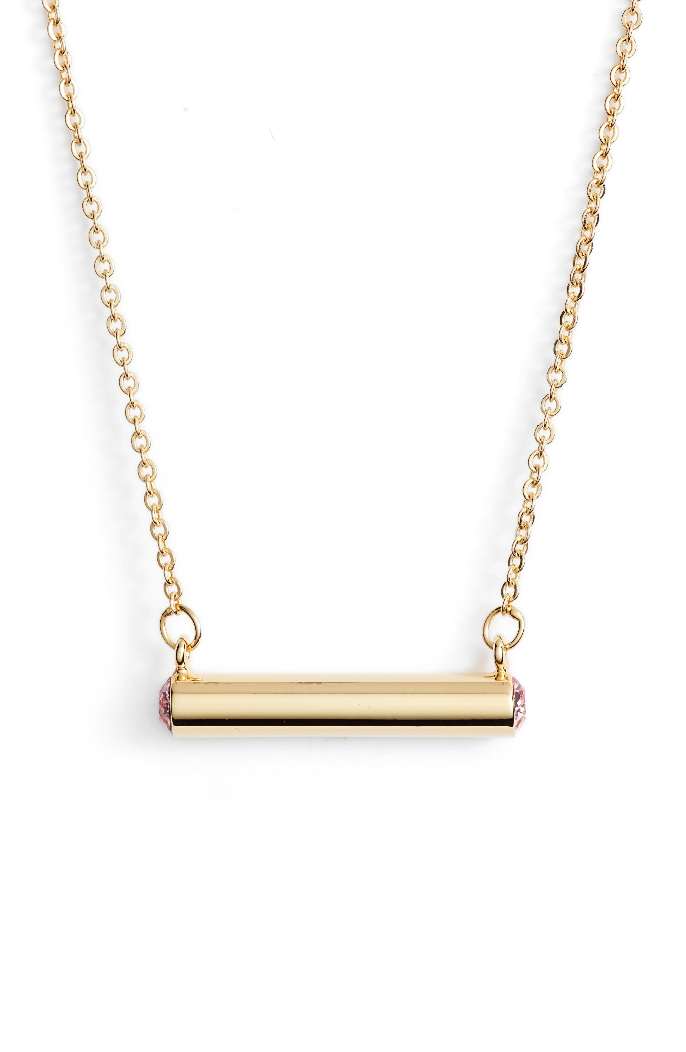 October Crystal Bar Pendant Necklace,                         Main,                         color, Gold