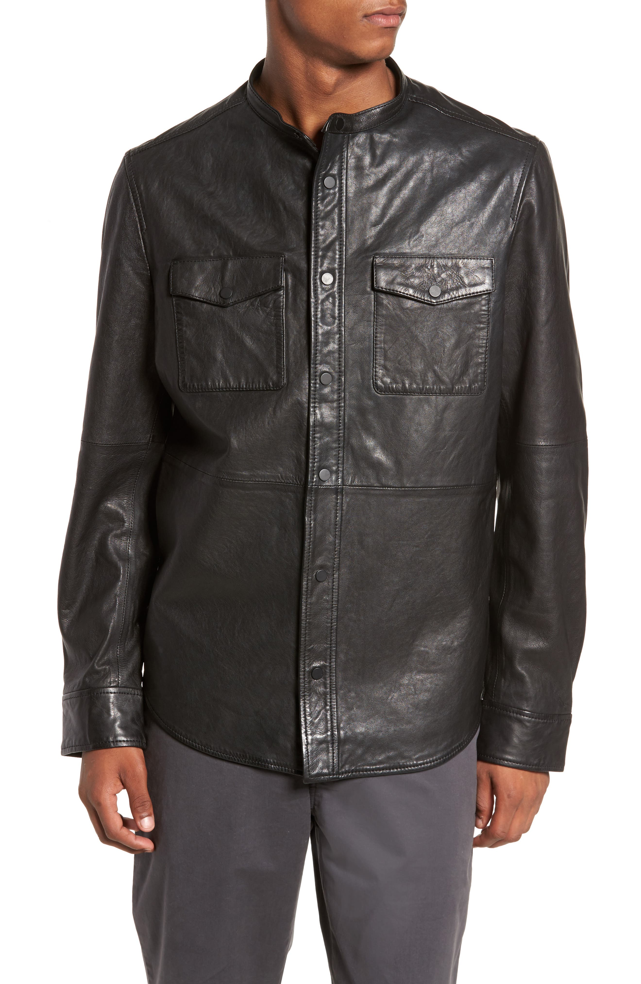 Atwater Leather Shirt Jacket,                             Alternate thumbnail 4, color,                             Black
