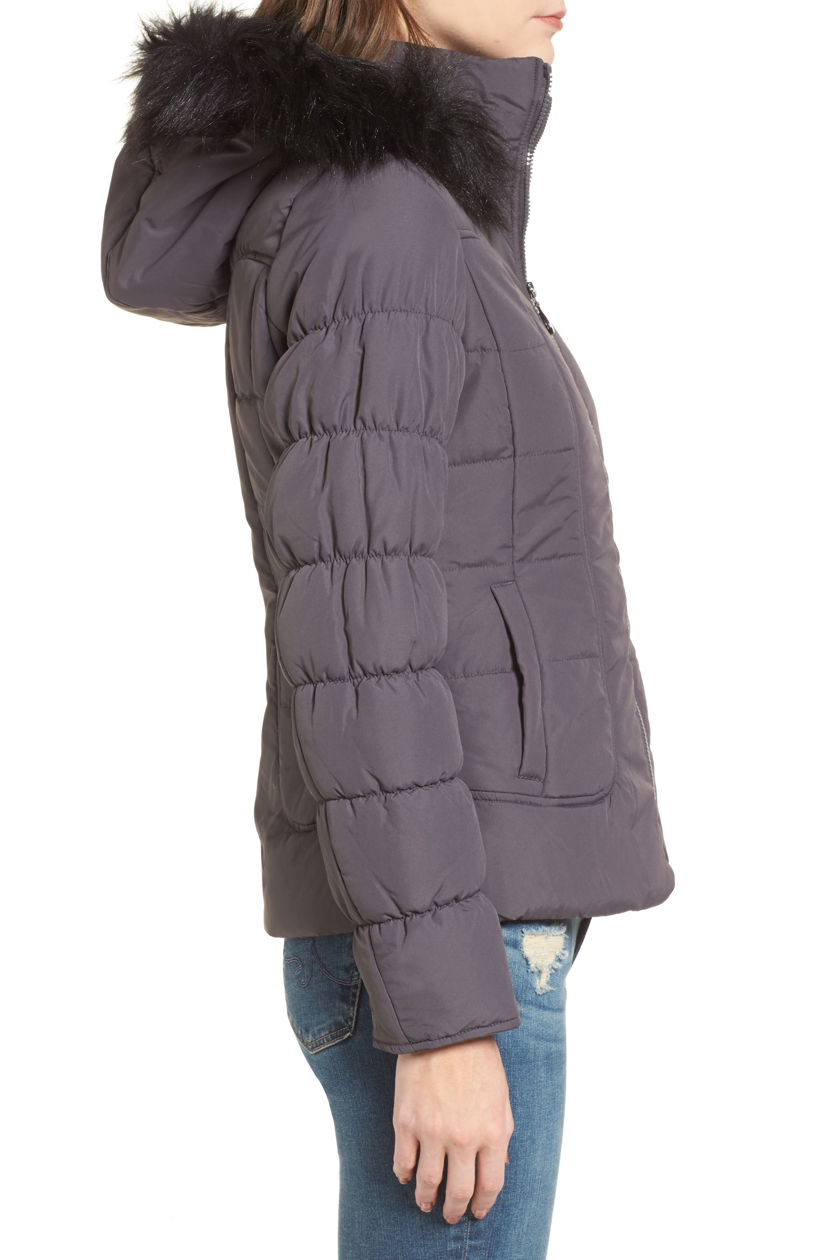 Quilted Jacket with Faux Fur Collar,                             Alternate thumbnail 3, color,                             Concrete