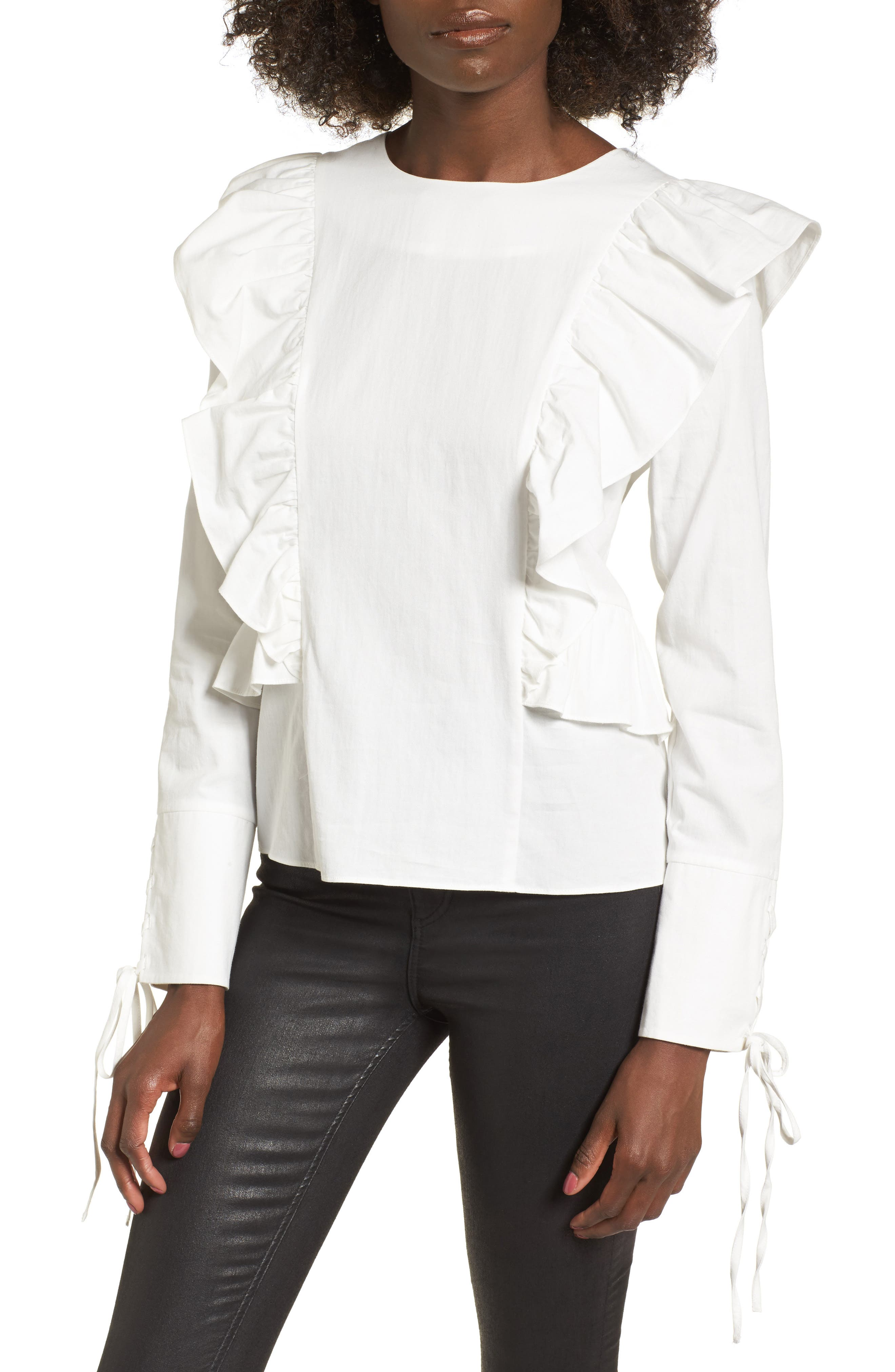 Ruffle Front Top,                             Main thumbnail 1, color,                             White