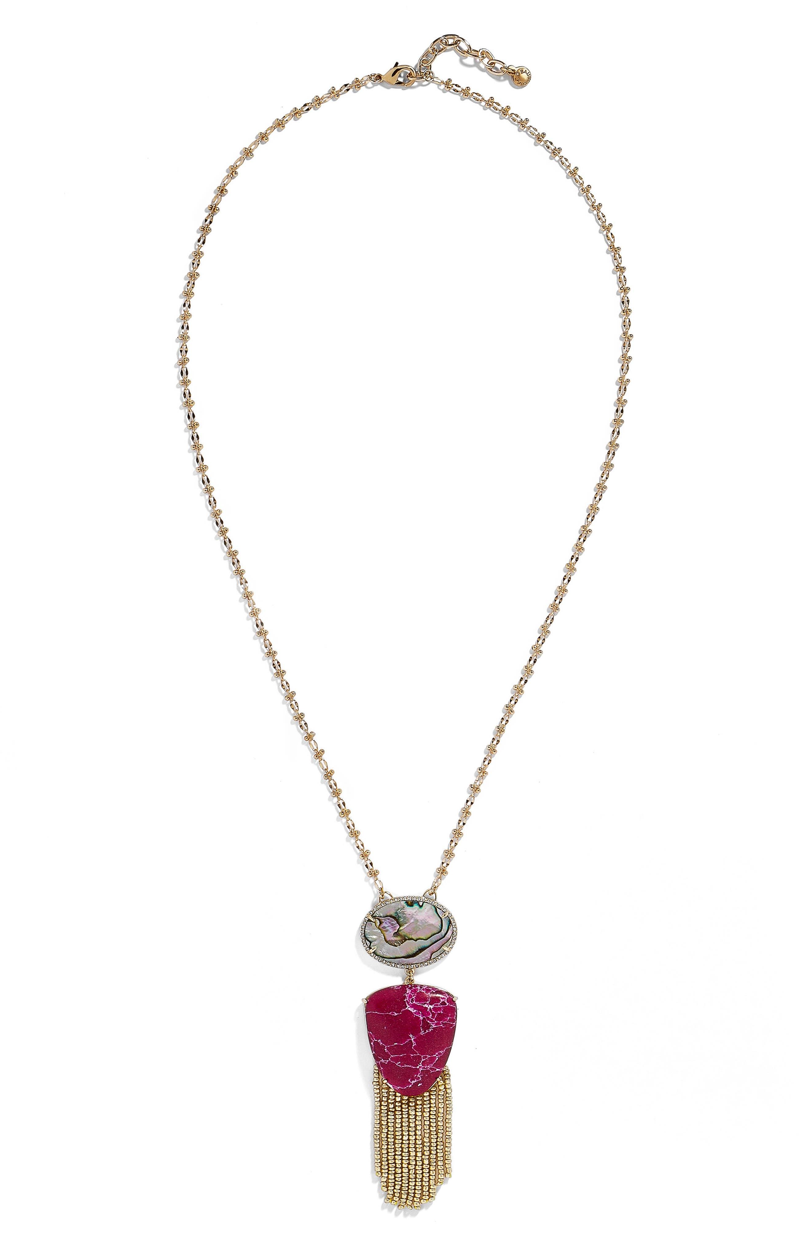 Moonglow Fringe Abalone Pendant Necklace,                         Main,                         color, Fuchsia/ Abalone