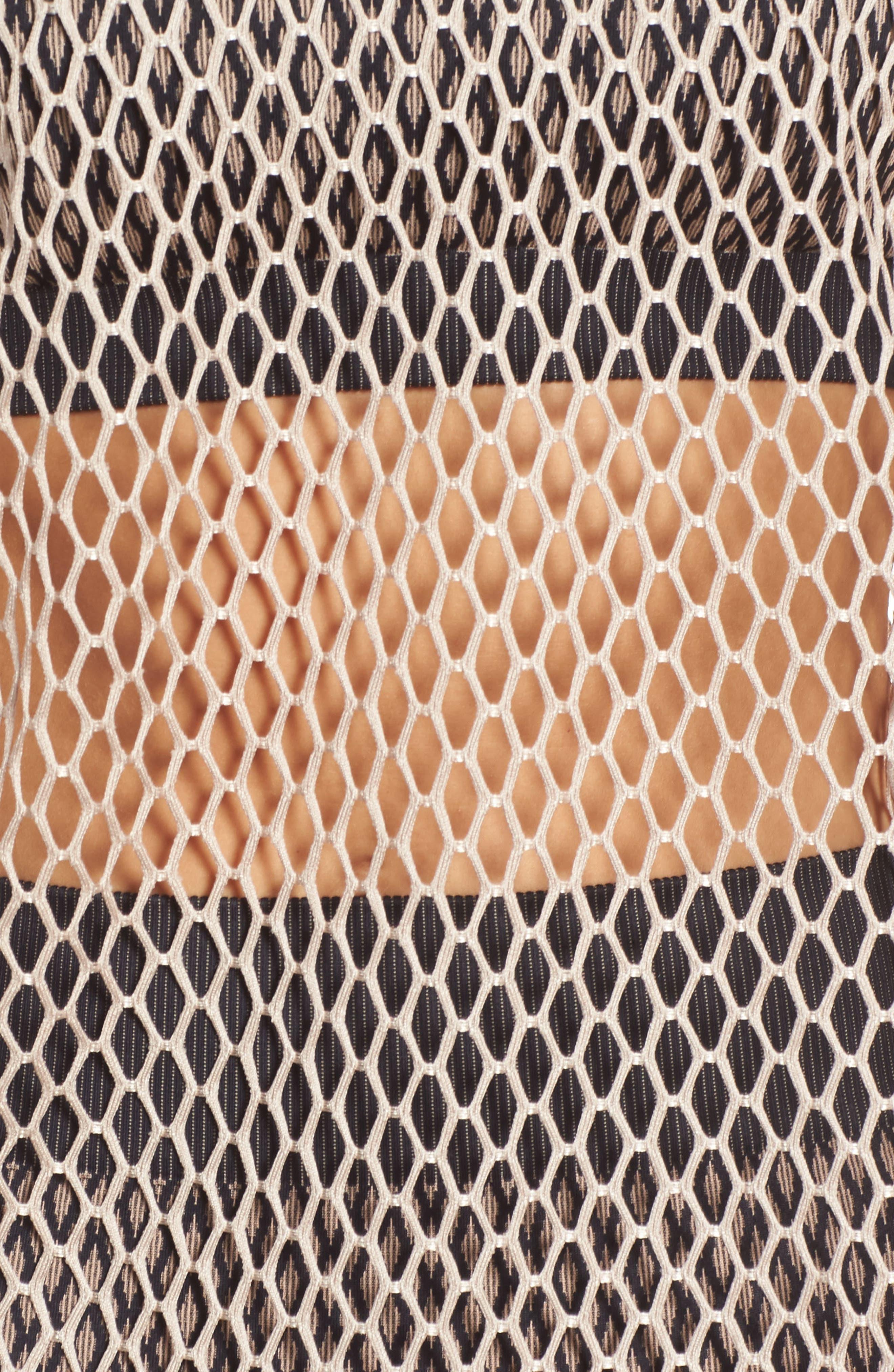 Long Sleeve Mesh Tee,                             Alternate thumbnail 4, color,                             Taupe
