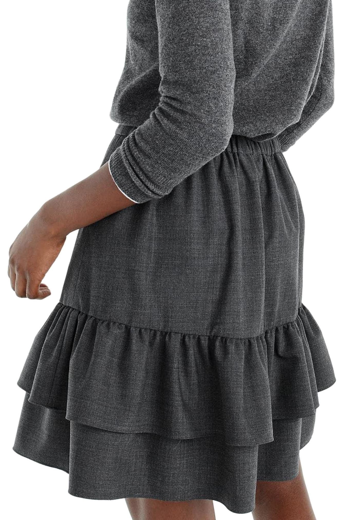 Wool Flannel Ruffle Skirt,                             Alternate thumbnail 2, color,                             Heather Carbon