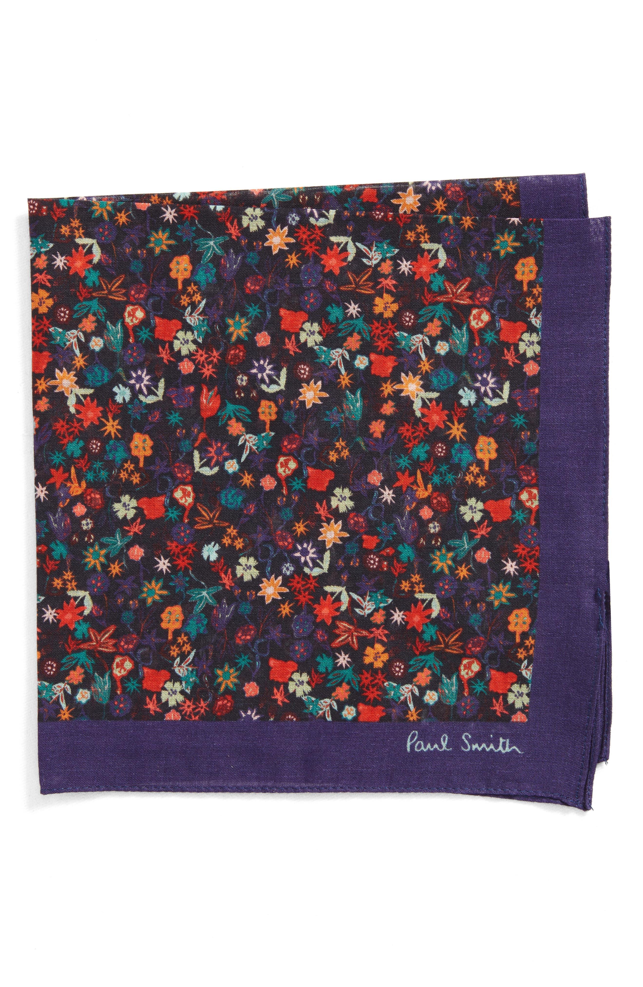 Floral Cotton Pocket Square,                             Main thumbnail 1, color,                             Cobalt Blue