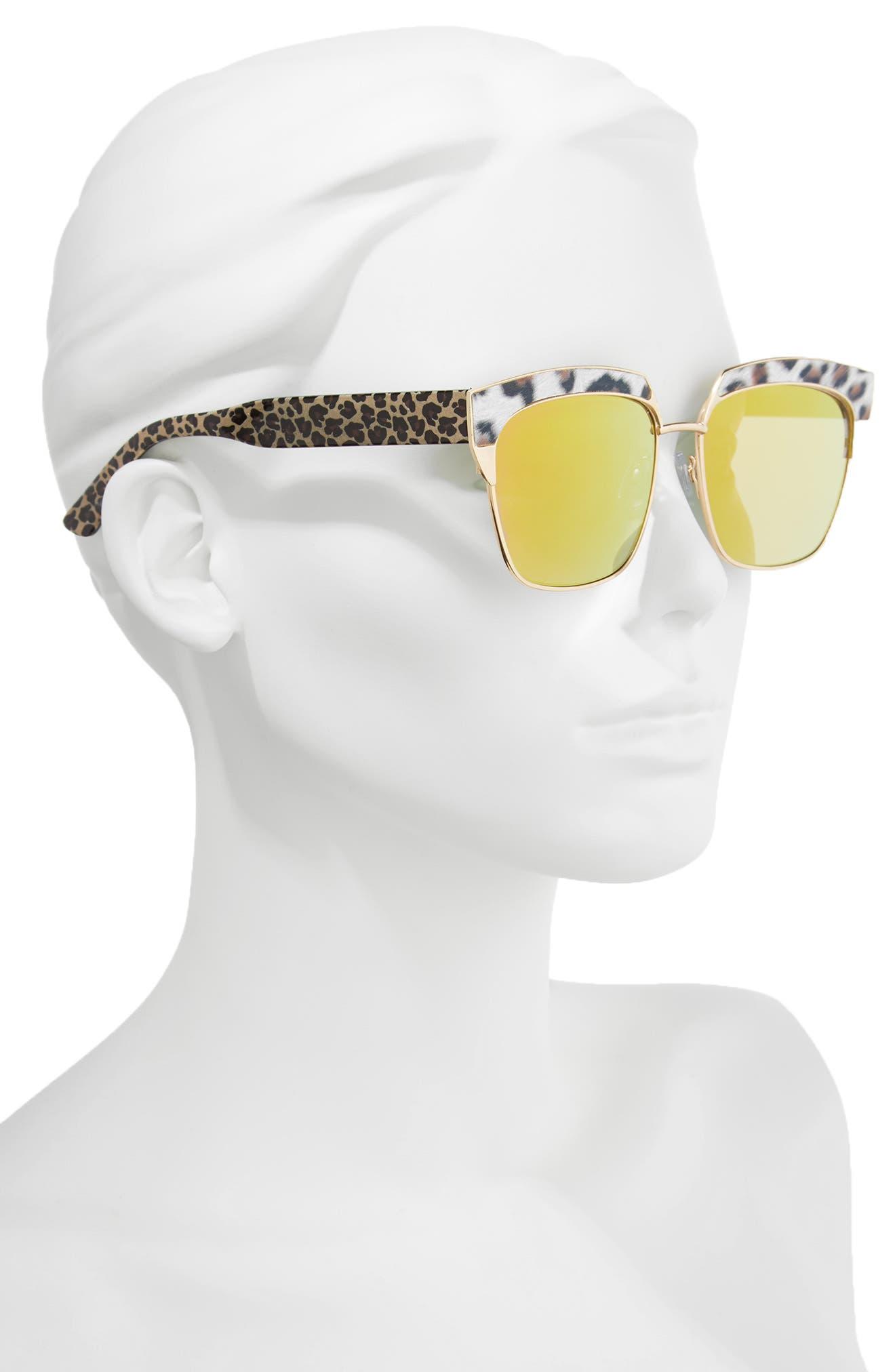 Leopard Print Top Bar Sunglasses,                             Alternate thumbnail 2, color,                             Multi/ Gold