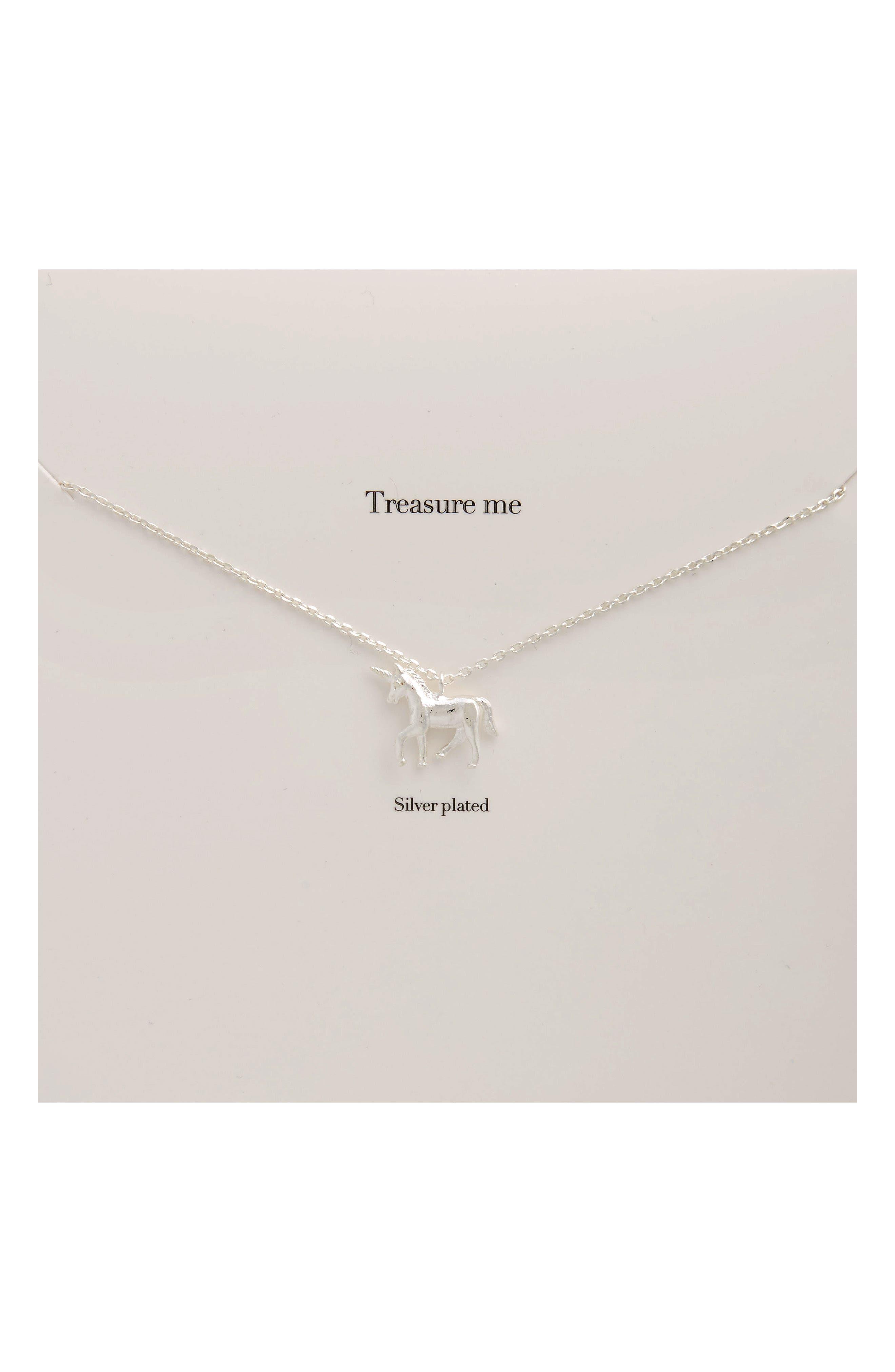Treasure Me Unicorn Necklace,                         Main,                         color, Silver