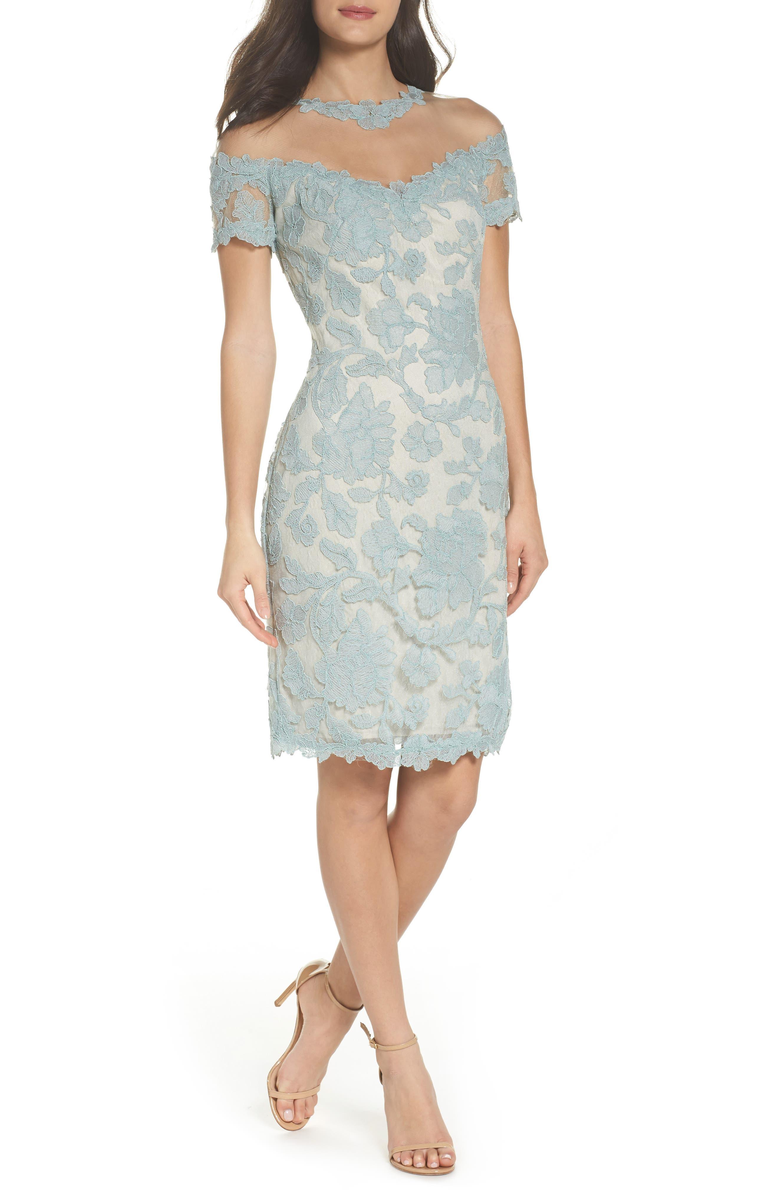 Illusion Lace Sheath Dress,                         Main,                         color, Mint/ Natural